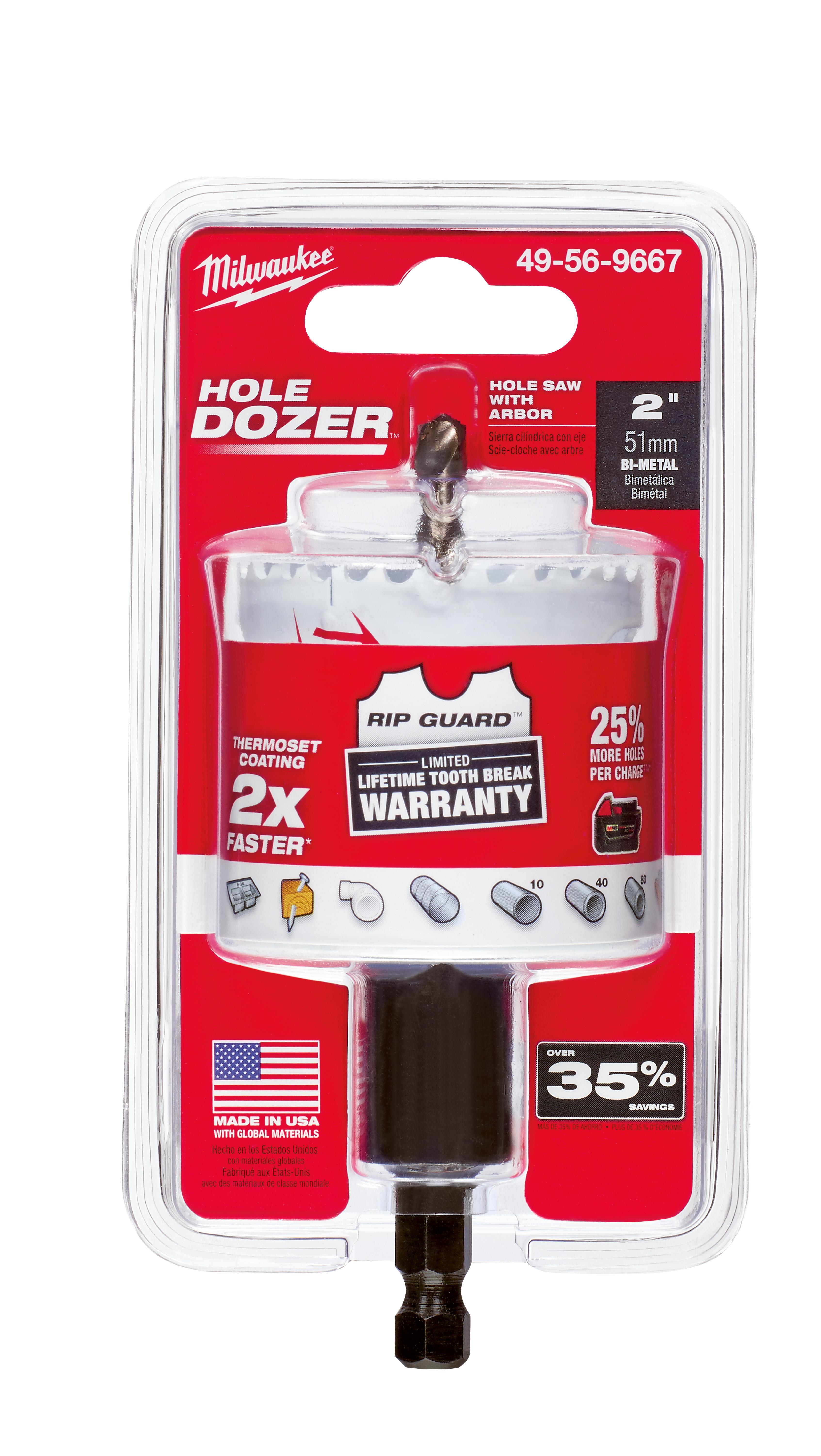 Milwaukee® 49-56-9667 Hole Dozer™ 49-56 Hole Saw, 2 in Dia, 1-5/8 in D Cutting, Bi-Metal/8% Cobalt Cutting Edge