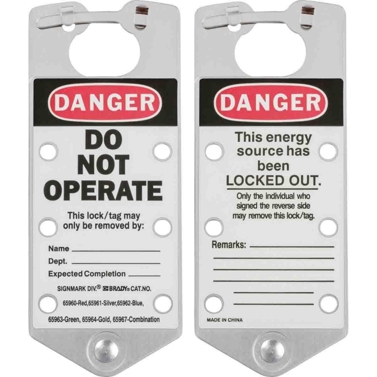 Brady® 65961 Labeled Snap-In Lockout Hasp With Interlocking Tabs, 6 Padlocks, 5/16 in Max Dia Padlock Shackle, Aluminum