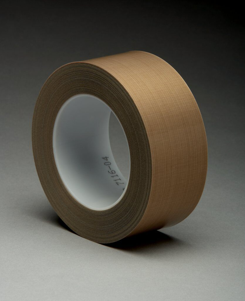 3M™ 5453 Pressure Sensitive Glass Cloth Tape, 36 yd L x 2 in W, 8.2 mil THK, Silicon Adhesive, Woven Glass Cloth Impregnated with PTFE Backing, Brown