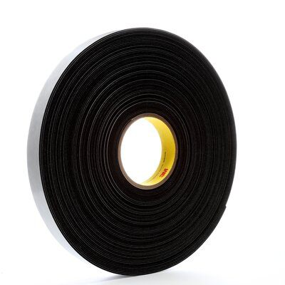 "3M™ 4516-1""x36yd Single Coated Foam Tape, 36 yd L x 1 in W, 62 mil THK, Acrylic Adhesive, Vinyl Foam Backing, Black"