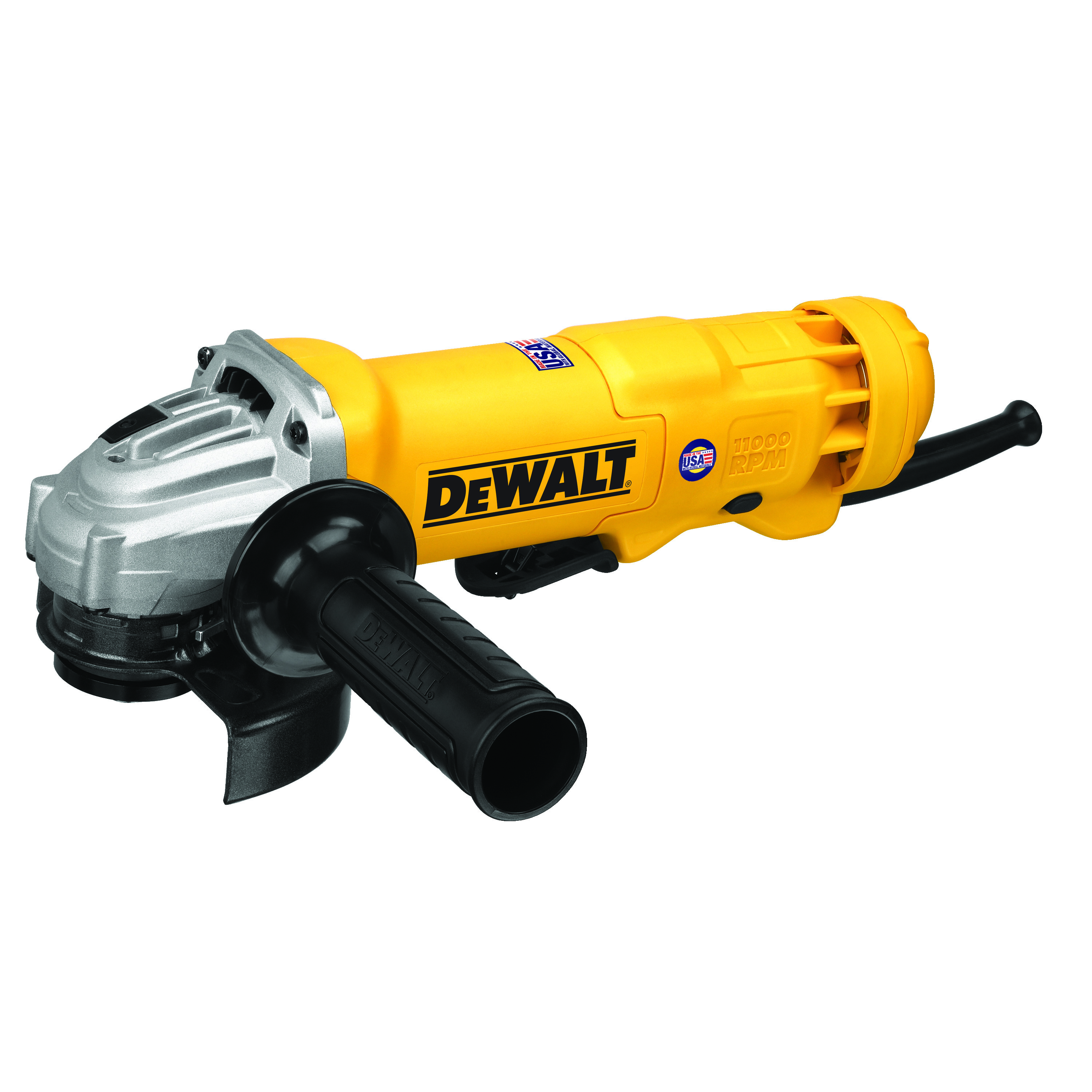 DeWALT® DWE402 Small Angle Grinder, 4-1/2 in Dia Wheel, 5/8-11 Arbor/Shank, 120 VAC, For Wheel: Quick-Change™, Yellow, Yes, Lock-On Paddle Switch