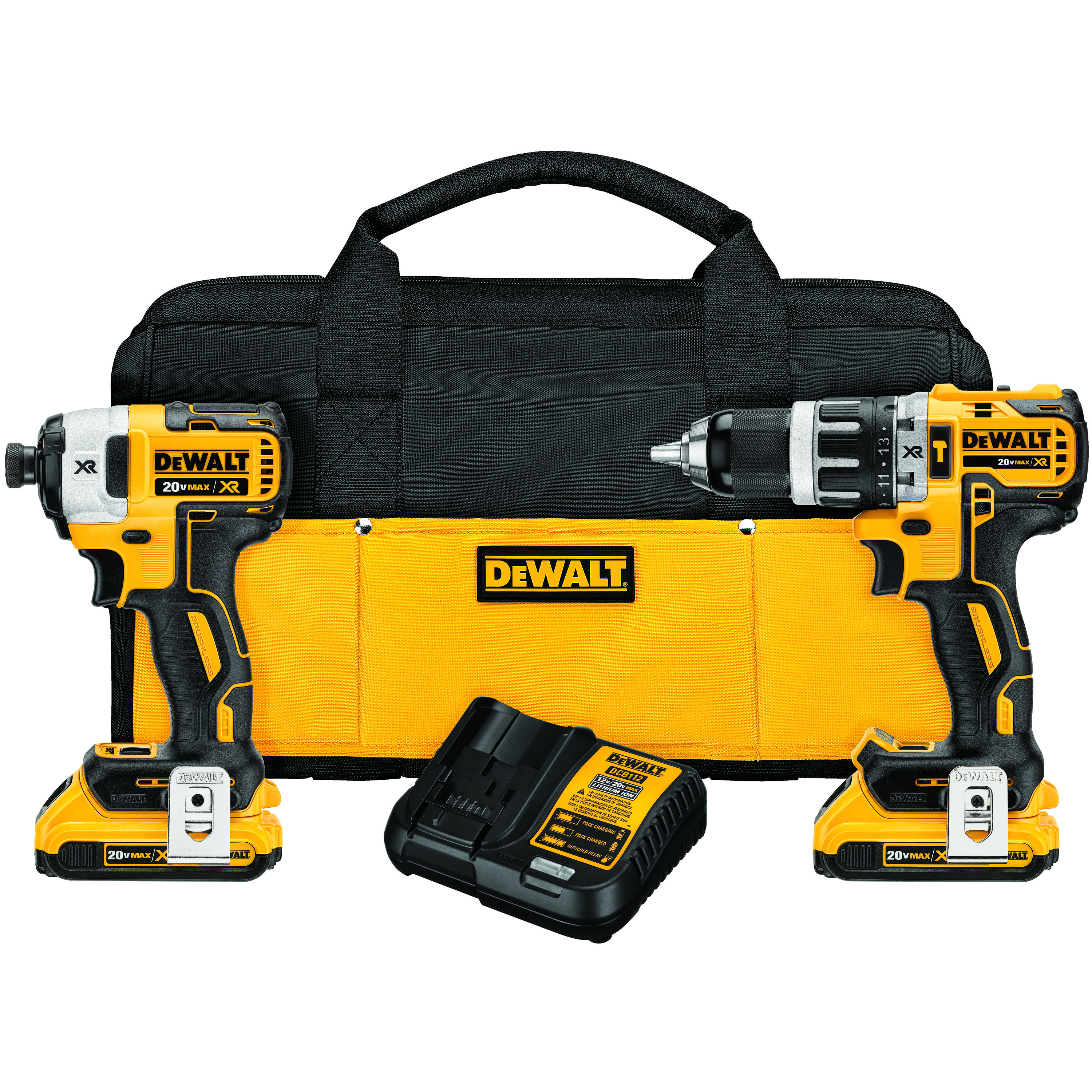 DeWALT® 20V MAX* MATRIX™ XR™ DCK287D2 2-Tool Compact Cordless Combination Kit, Tools: Hammer Drill/Driver, Impact Driver, 20 V, 2 Ah Lithium-Ion