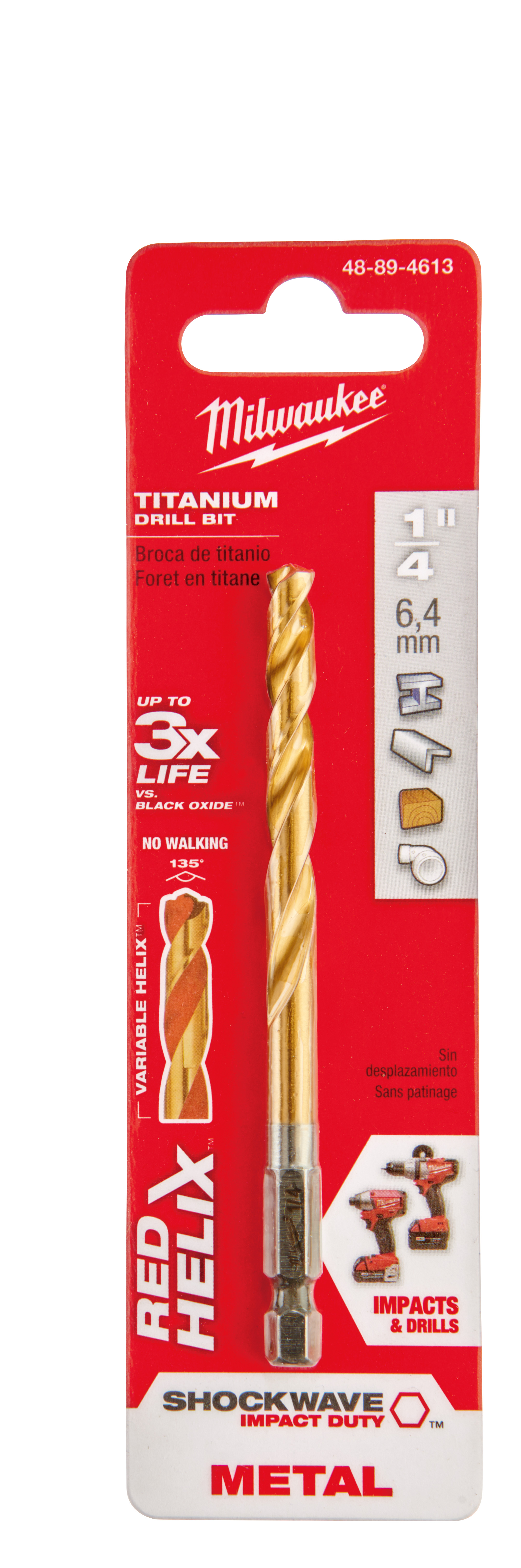 Milwaukee® 48-89-4613 SHOCKWAVE™ Hex Shank Impact Drill Bit, 1/4 in Drill - Fraction, 0.25 in Drill - Decimal Inch, 2-15/32 in D Cutting