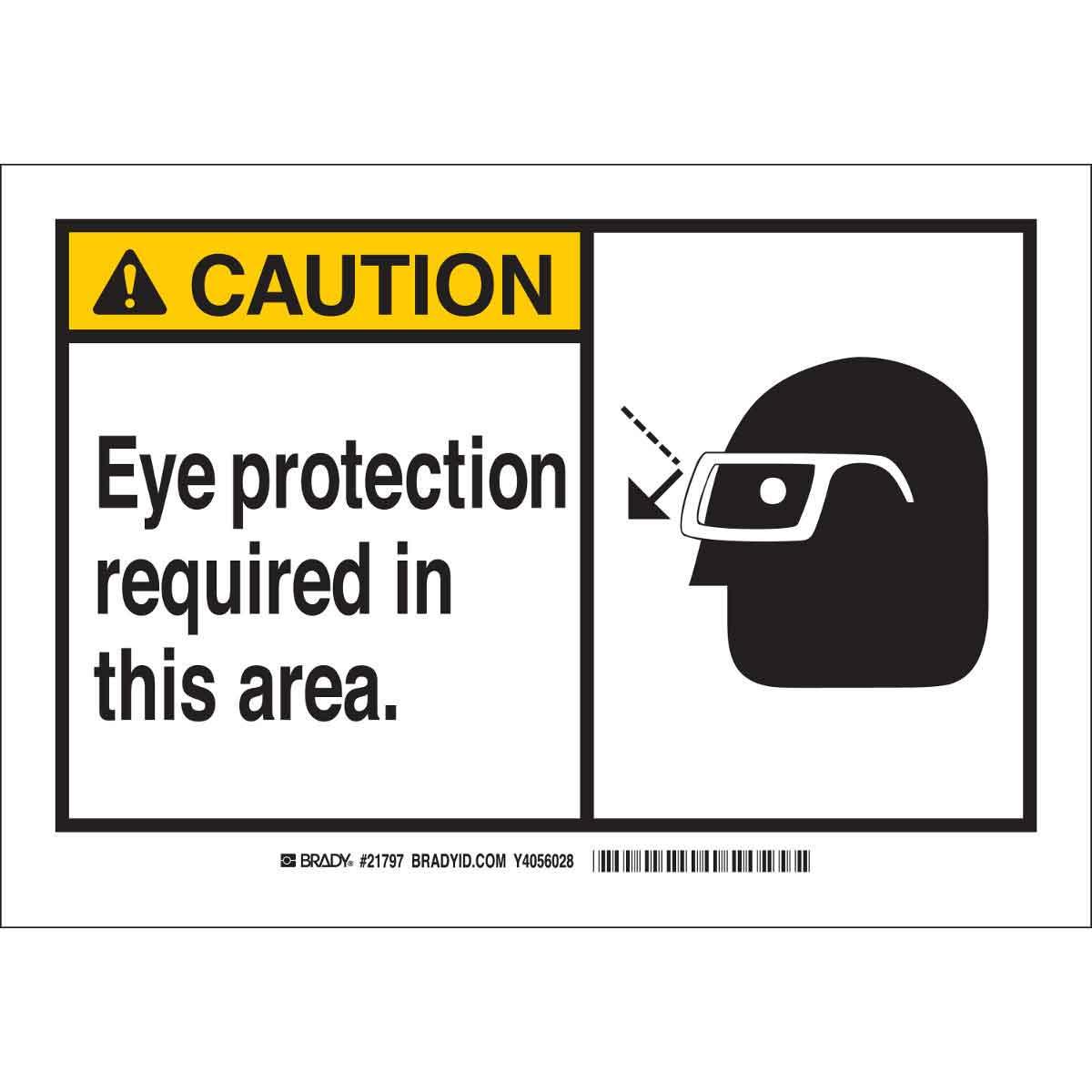 Brady® 26572 Rectangular Safety Sign, 10 in H x 14 in W, Black on Yellow, B-401 Polystyrene, Corner Holes Mount