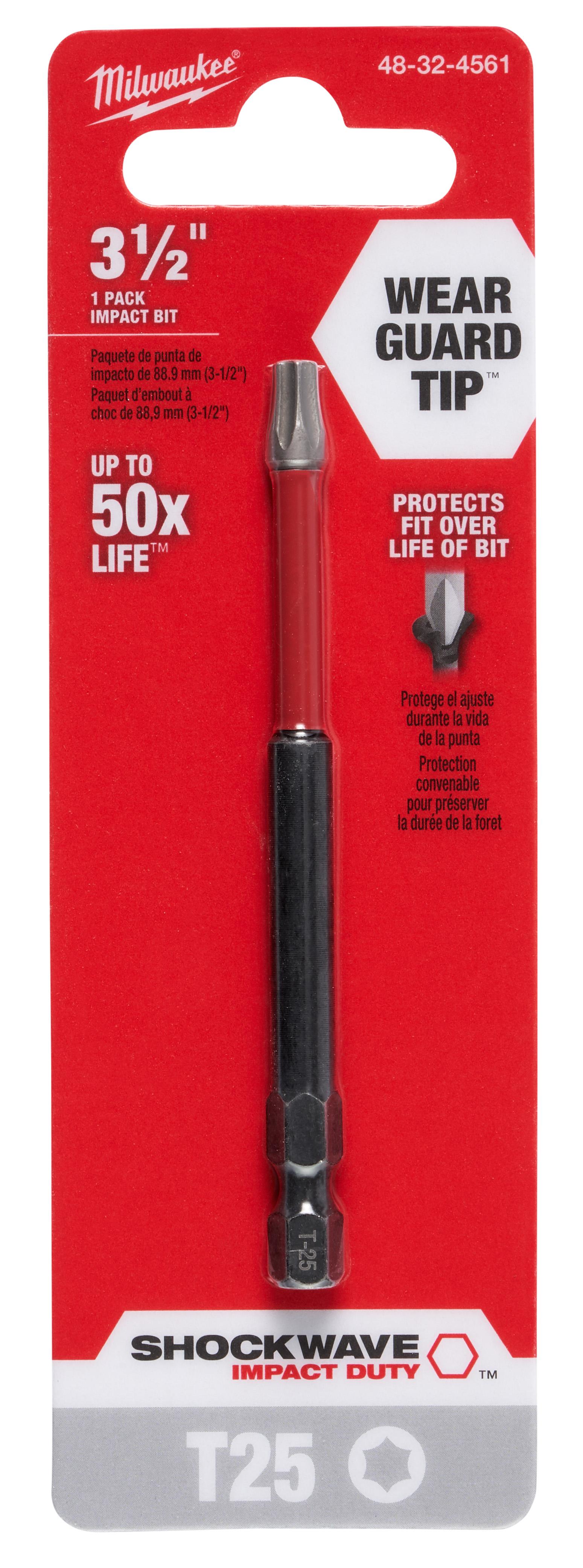 Milwaukee® SHOCKWAVE™ 48-32-4561 Impact Power Bit, T25 Torx® Point, 3-1/2 in OAL, 1/4 in, Steel