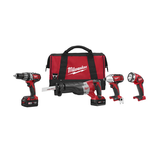 Milwaukee® M18™ 2696-24 4-Tool Cordless Combination Kit, Tools: Hammer Drill, Impact Driver, Reciprocating Saw, 18 VDC, 3 Ah Lithium-Ion Battery, Keyless Blade