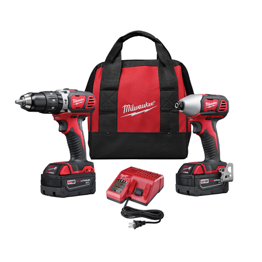 Milwaukee® M18™ REDLITHIUM™ 2697-22 Cordless Combination Kit, Tools: Hammer Drill/Driver, Impact Driver, 18 VDC, 3 Ah Lithium-Ion, Keyless Blade