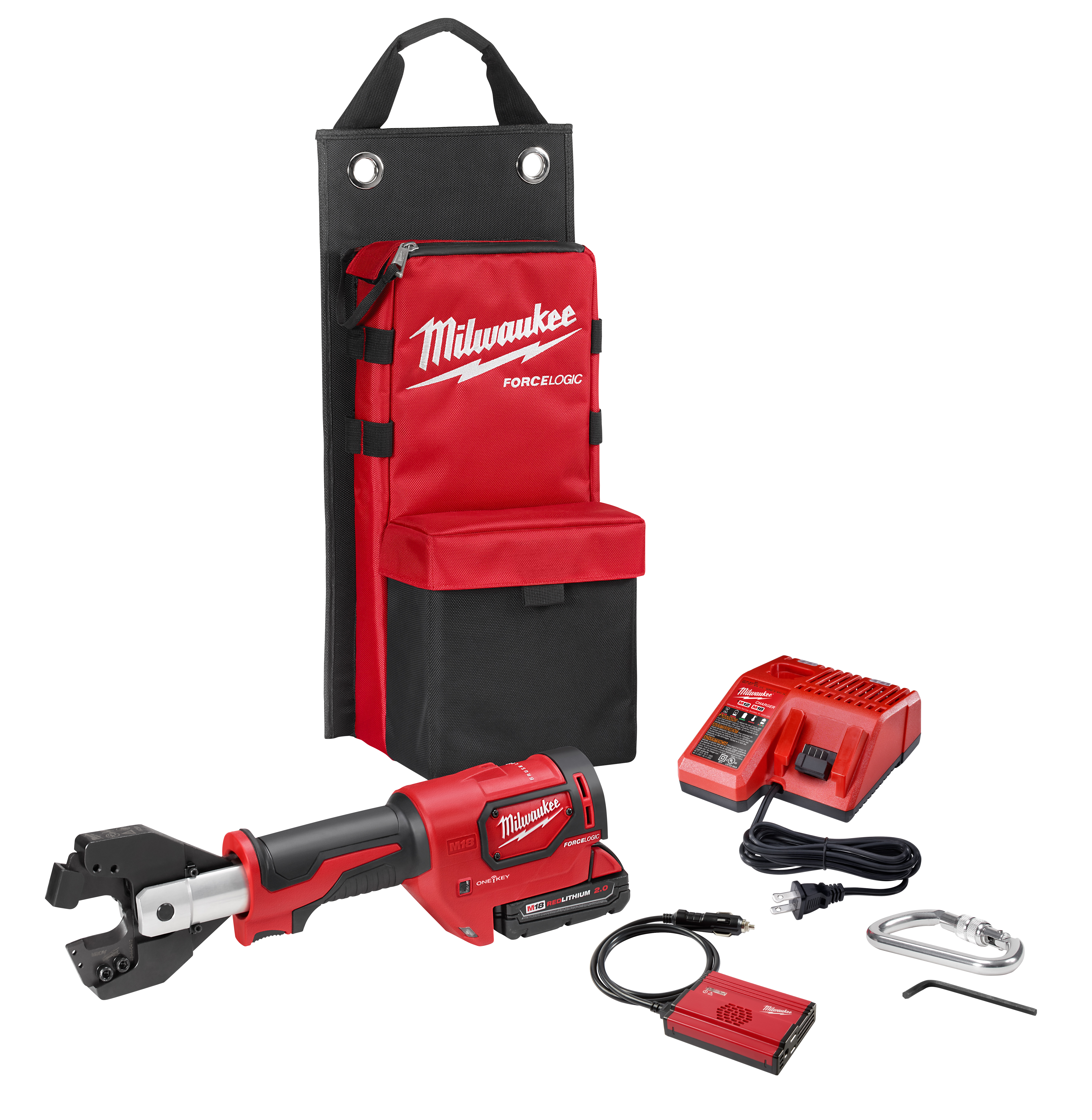 Milwaukee® M18™ FORCELOGIC® 2672-21SKIT Auto Reset Cordless Cable Cutter Kit, 750 to 1000 kcmil Cu/Al Cutting, 18 VDC, Lithium-Ion Battery