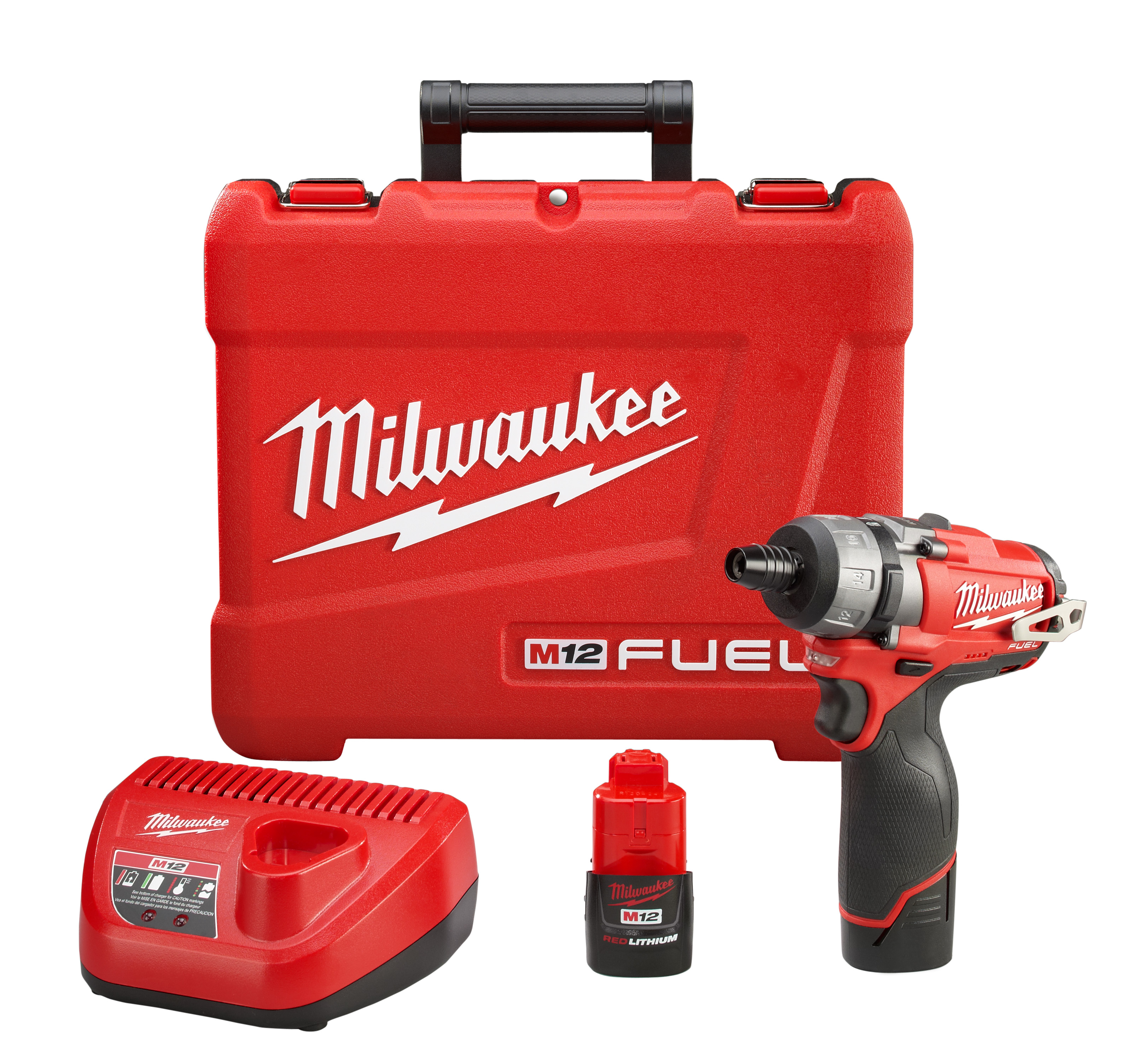 Milwaukee® M12™ FUEL™ 2402-22 2-Speed Screwdriver Kit, 1/4 in Chuck, 12 VDC, 350 in-lb Torque, Lithium-Ion Battery