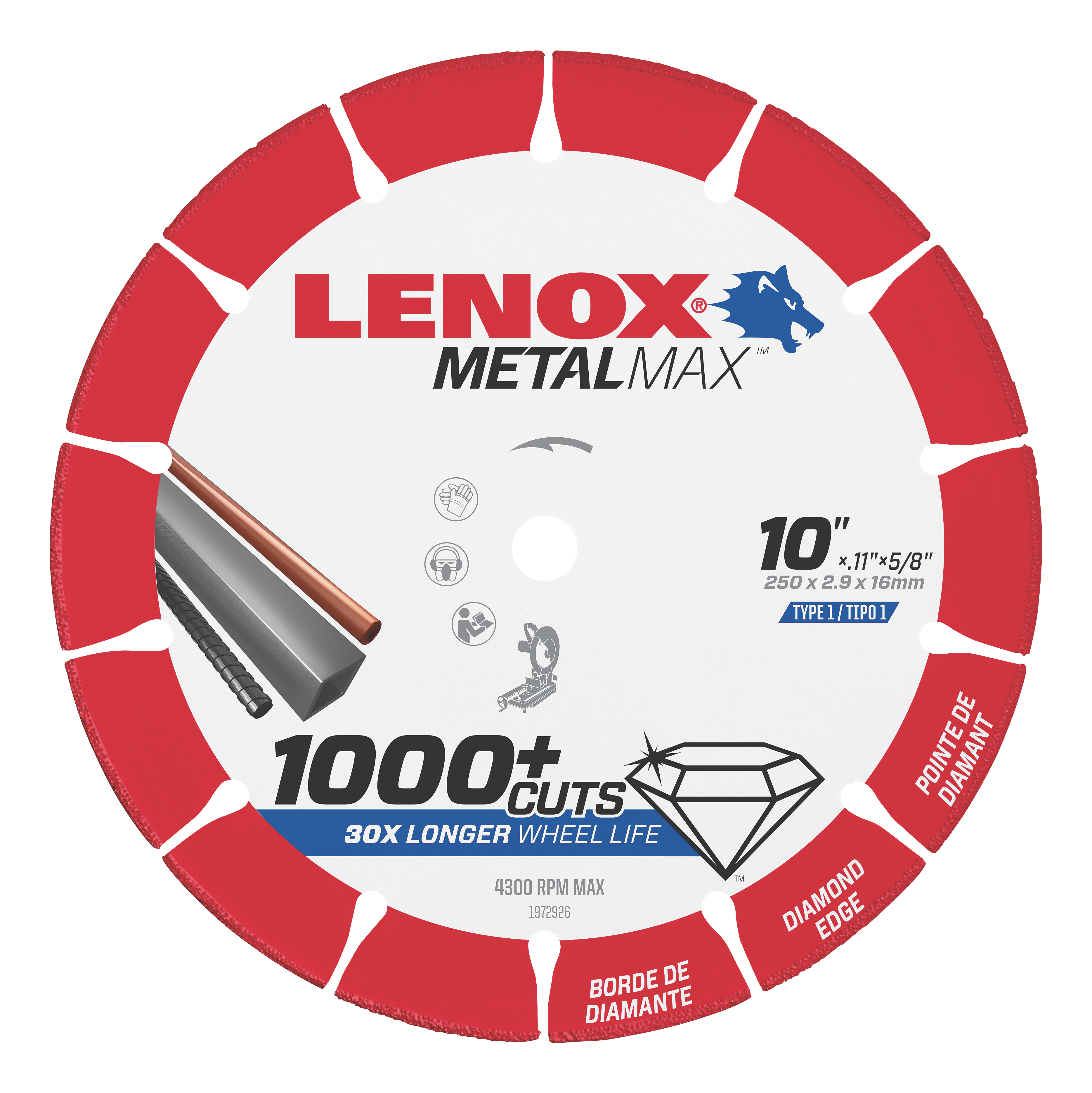 LENOX® TOOLS METALMAX™ 1972926 METALMAX™ Type 1 Cut-Off Wheel, 10 in Dia x 0.1 in THK, 5/8 in Center Hole, 25/30 Grit, Diamond Abrasive