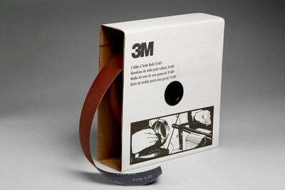 3M™ 19822 Utility Closed Coated Abrasive Roll, 50 yd L x 2 in W, 100 Grit, Fine Grade, Aluminum Oxide Abrasive, Cloth Backing