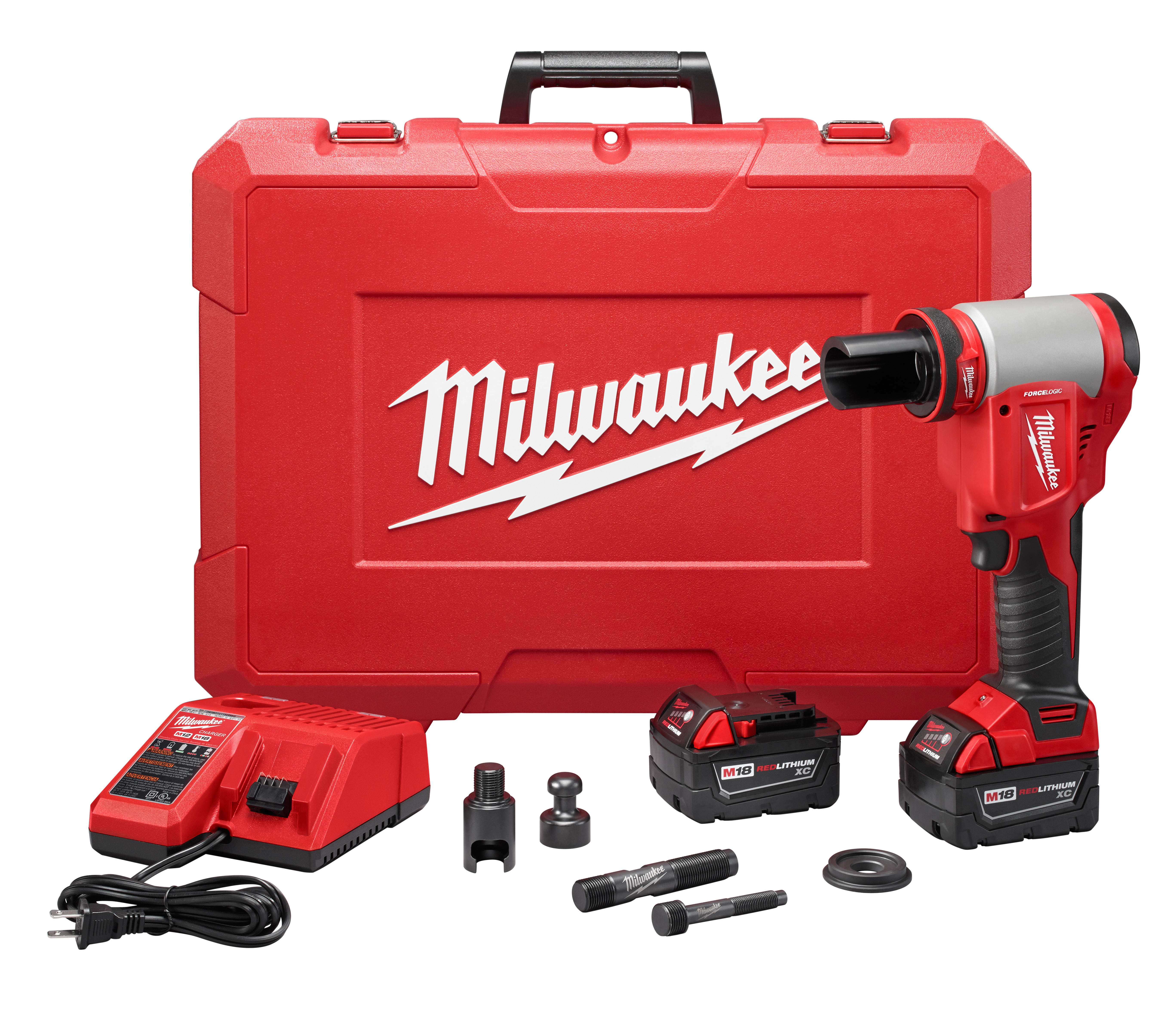Milwaukee® M18™ 2676-20 FORCE LOGIC™ Hydraulic Knockout Tool Kit, 1/2 to 4 in Mild Steel/Stainless Steel Max Cutting, 13.63 in OAL