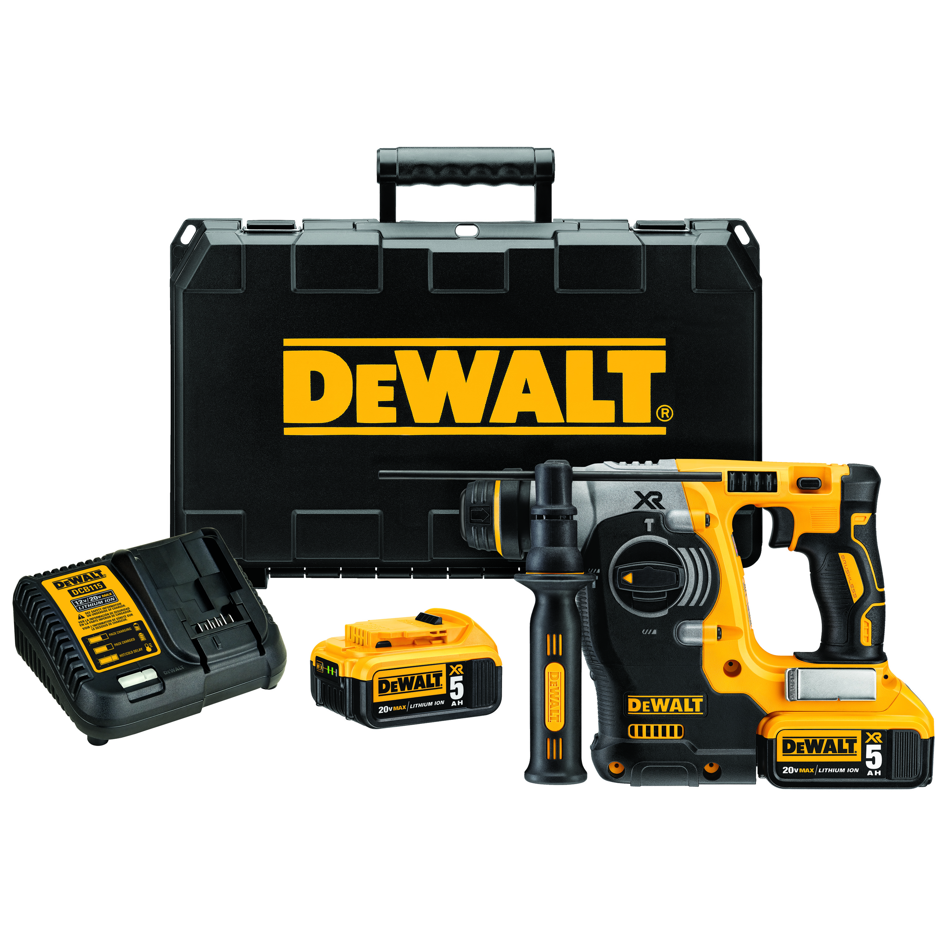 DeWALT® 20V MAX* DCH273P2 XR™ High Performance Cordless Rotary Hammer Kit, 1 in SDS Plus® Chuck, 20 VAC, 0 to 1100 rpm No-Load, Lithium-Ion Battery