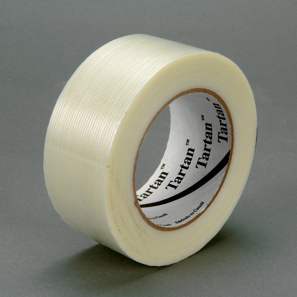 3M™ 8934-48mmx55m High Strength Filament Tape, 55 m L x 48 mm W, 4 mil THK, Fiberglass Yarn Filament, Synthetic Rubber Adhesive, Polypropylene Film Backing, Clear