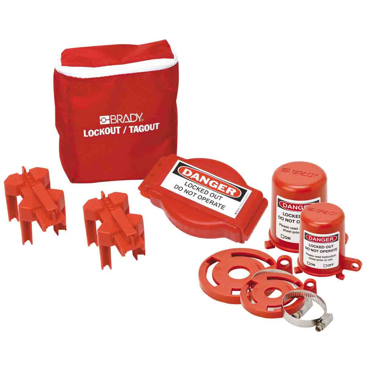Brady® 99679 Portable Lockout Pouch Kit, Filled, 6 Pieces, 8 in H x 7 in W, Language: English