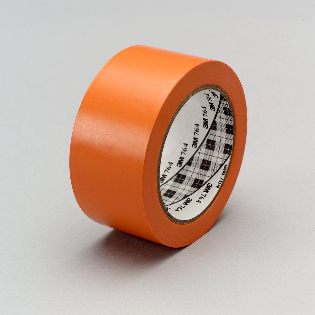 "3M™ 764-Orange-2""x36yd General Purpose Vinyl Tape, 36 yd L x 2 in W, 5 mil THK, Rubber Adhesive, PVC Backing, Orange"