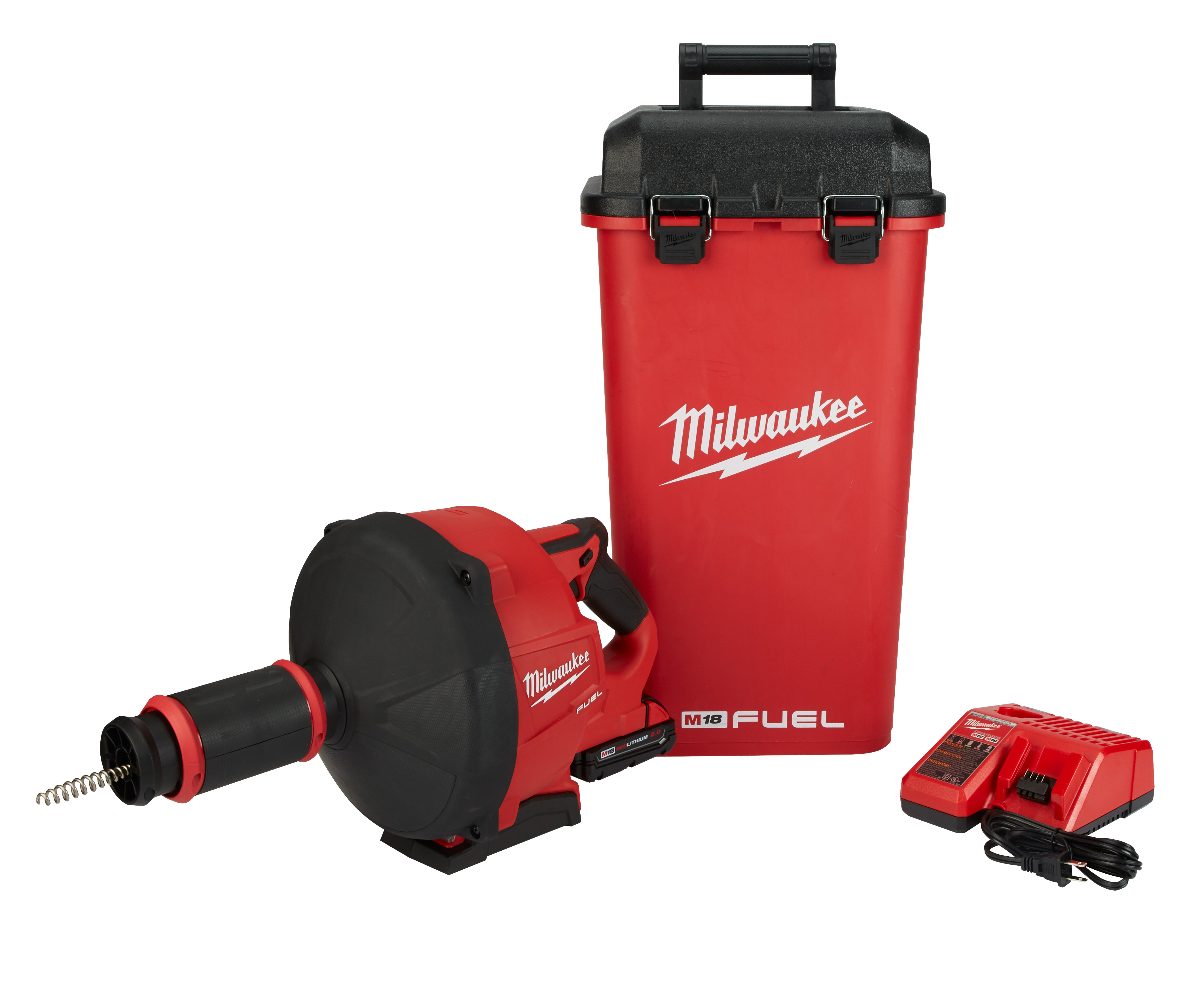 Milwaukee® M18™ FUEL™ 2772A-21 Cordless Drain Gun Kit With CABLE-DRIVE™ Locking Feed System, 1-1/4 to 3 in Drain Line, 50 ft Max Run, 18 VDC, Plastic Housing