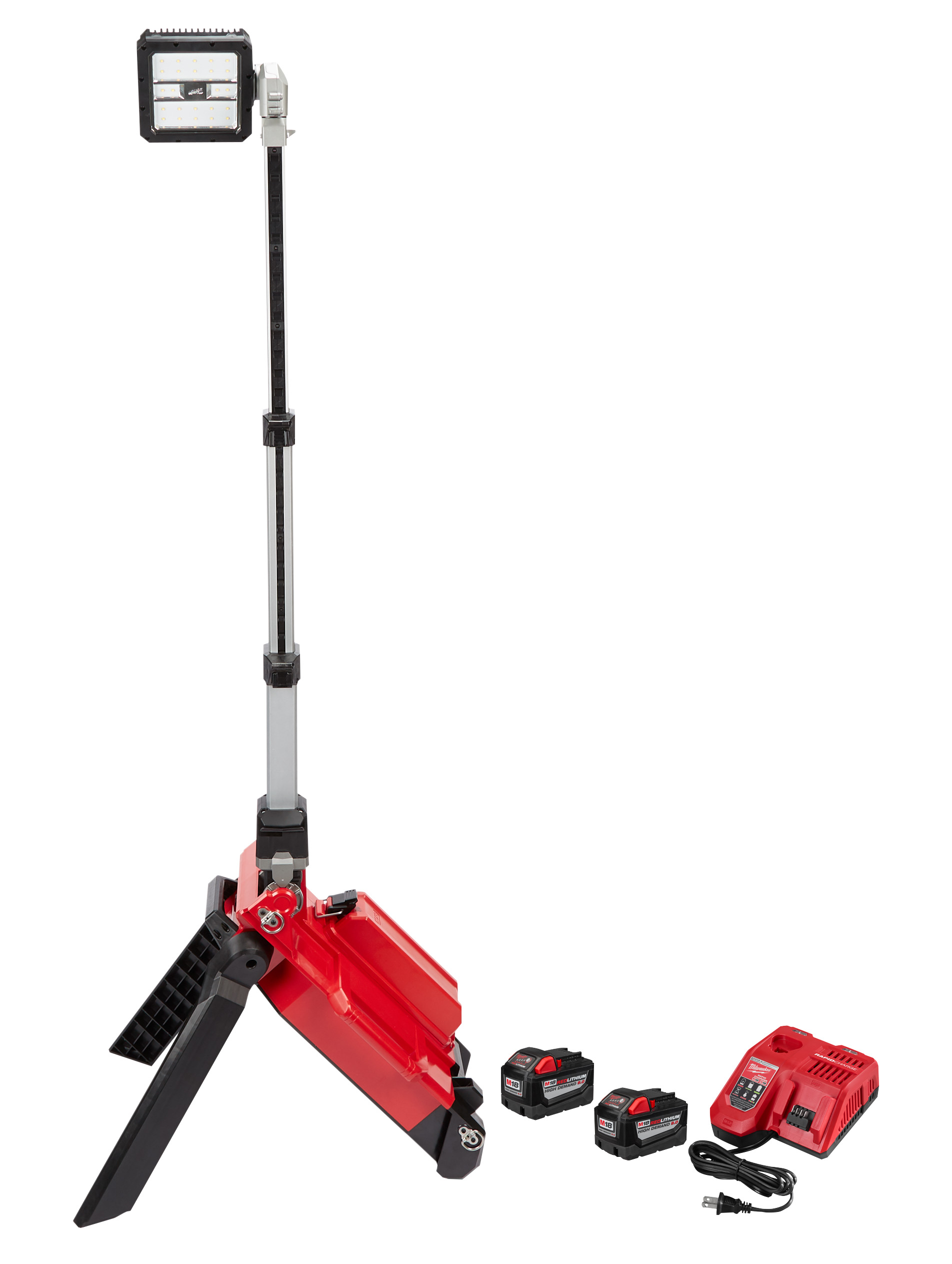 Milwaukee® M18™ ROCKET™ 2120-22HD Cordless Dual Pack Tower Light With Key, 22 in L x 7.1 in W x 10.6 in H, 18 VDC, LED Lamp