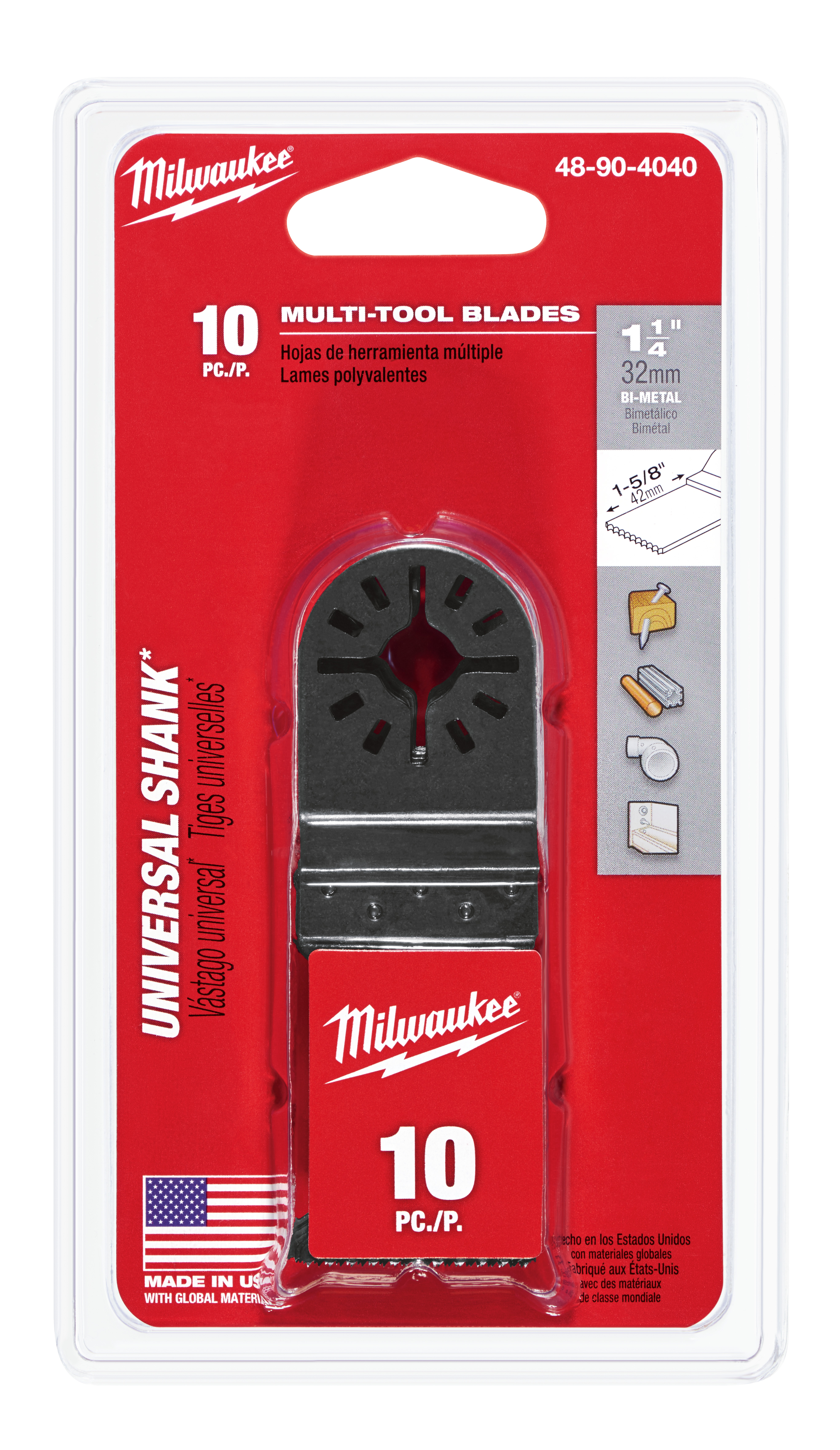 Milwaukee® 48-90-4040 Multi-Tool Blade With Universal Shank, For Use With Milwaukee®, Bosch® (Non-Starlock™), SKIL®, Makita®, Craftsman®, Fein® (Non-Starlock™), Ridgid®, AEG®, Ozito® and Ryobi® Professional Grade Oscillating Multi-Tool, 1-1/4 in, Bi-Metal