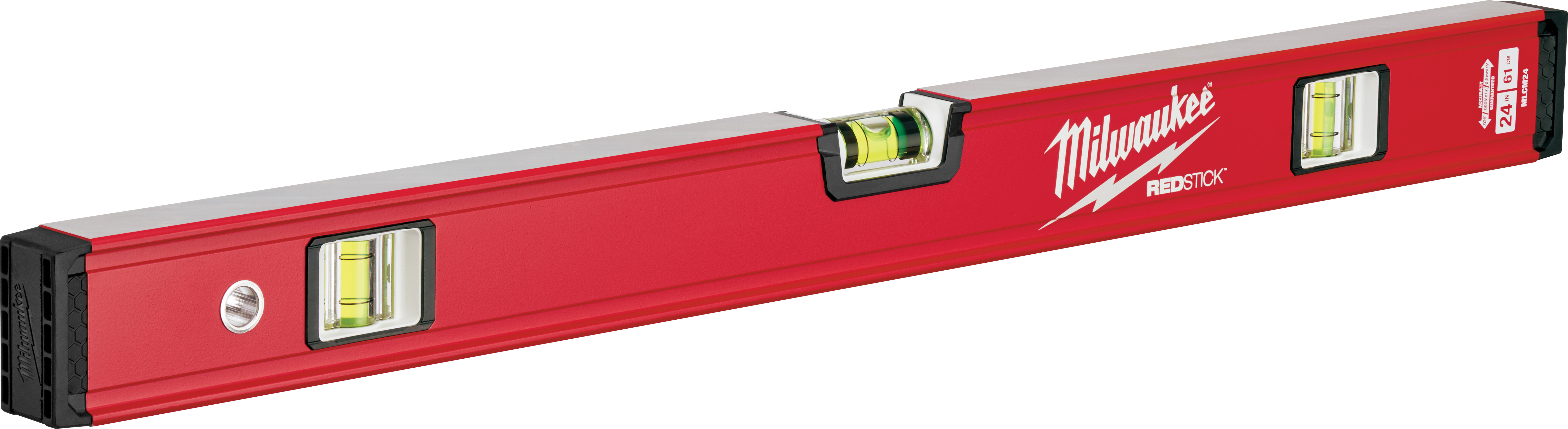 Milwaukee® REDSTICK™ MLCM24 Compact Box Level, 24 in L, 3 Vials, Aluminum, (1) Level, (2) Plumb Vial Position, 0.0005 in/in Accuracy