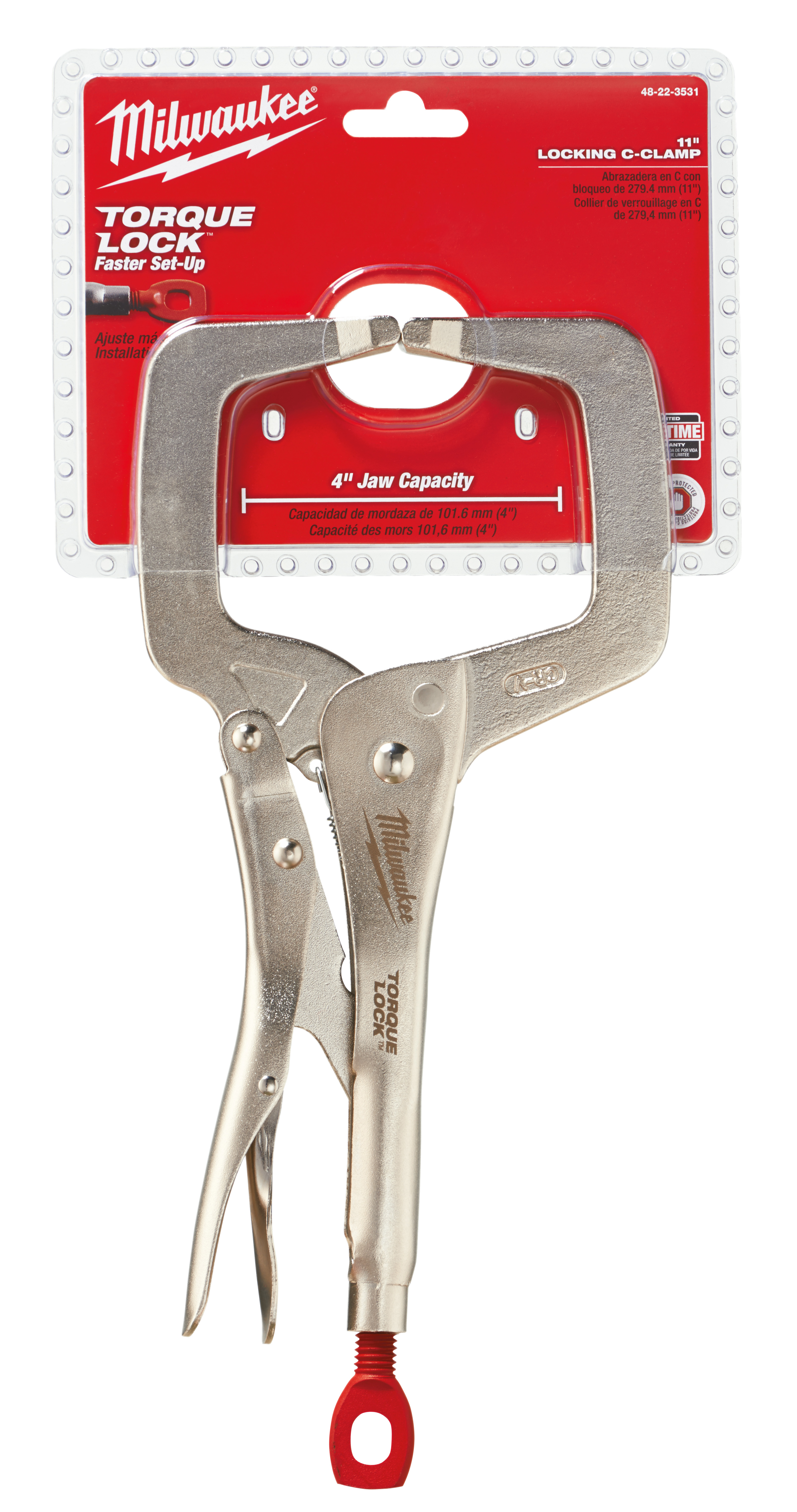 Milwaukee® TORQUE LOCK™ 48-22-3531 Regular Jaw Locking C-Clamp, Polished Chrome, 4 in D Throat, 1/2 in Jaw Opening, 11 in Jaw, Forged Alloy Steel