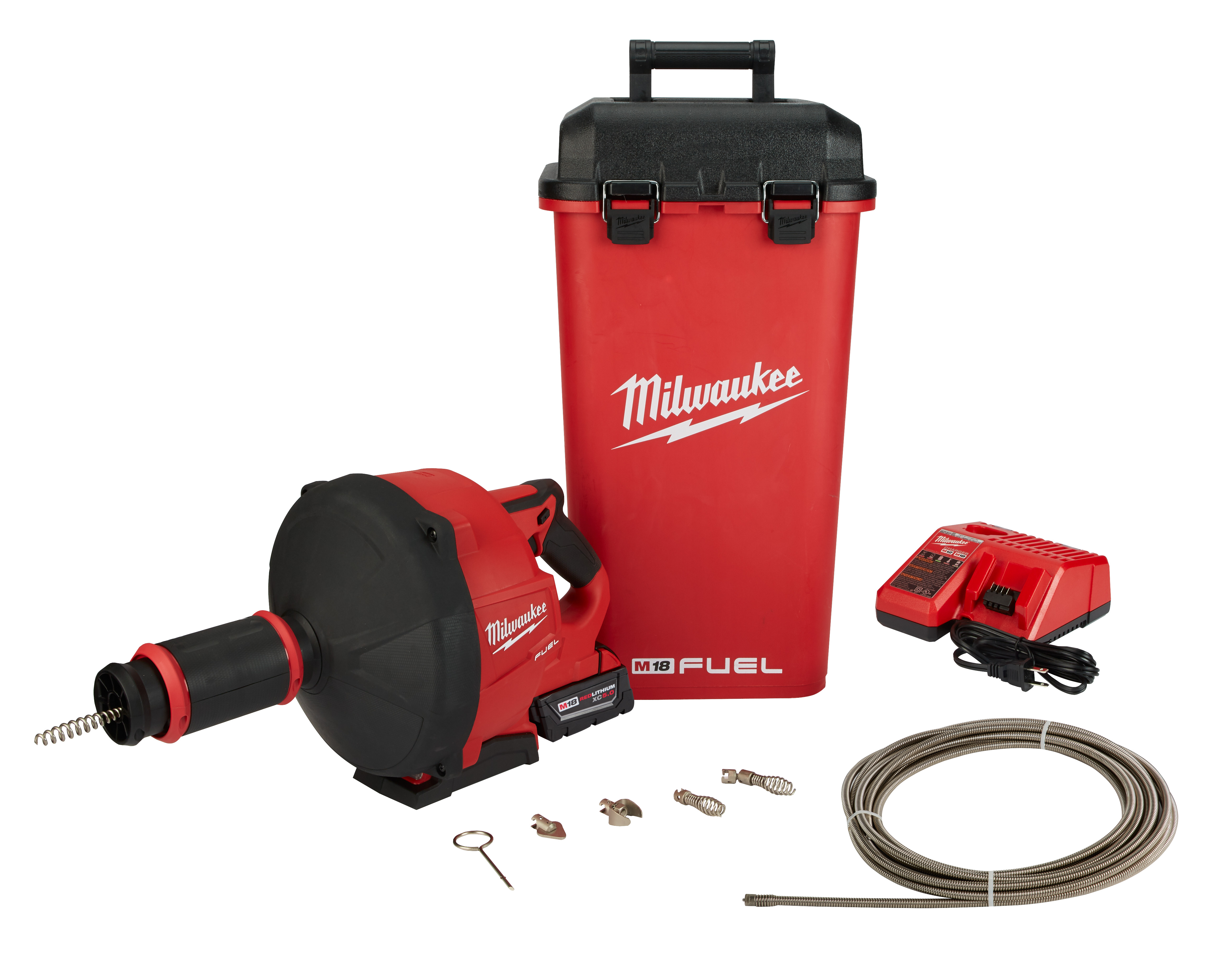 Milwaukee® M18™ FUEL™ 2772B-21XC Cordless Drain Gun Kit With CABLE-DRIVE™ Locking Feed System, 3 in Drain Line, 50 ft Max Run, 18 VDC, Plastic Housing