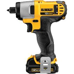 DeWALT® Impact Ready® DCF815S2 Compact Lightweight Cordless Impact Driver Kit, 1/4 in Hex Drive, 0 to 3400 bpm, 950 in-lb Torque, 12 VAC, 6-1/4 in OAL