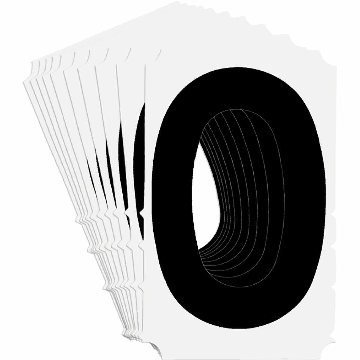 Brady® Quik-Align® 5140-0 Non-Reflective Number Label, 4 in H Black 0 Character, White Background, B-933 Vinyl