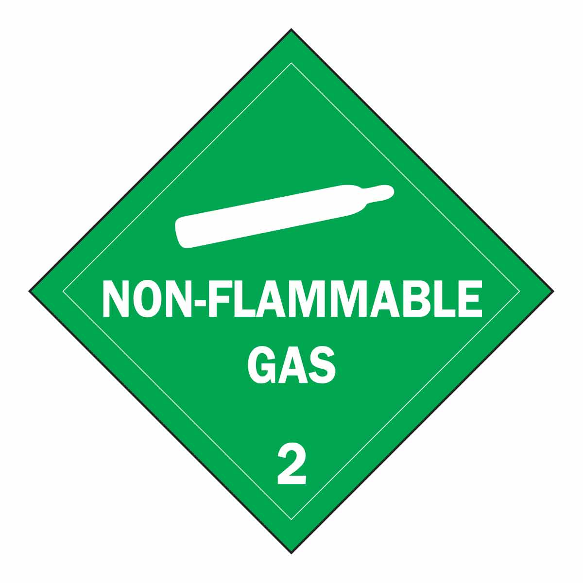 Brady® 63407 Diamond Stationary Vehicle Placard Sign, NON-FLAMMABLE GAS 2 Legend, Green on White, 10-3/4 in H, B-946 Vinyl, Self-Adhesive Mount