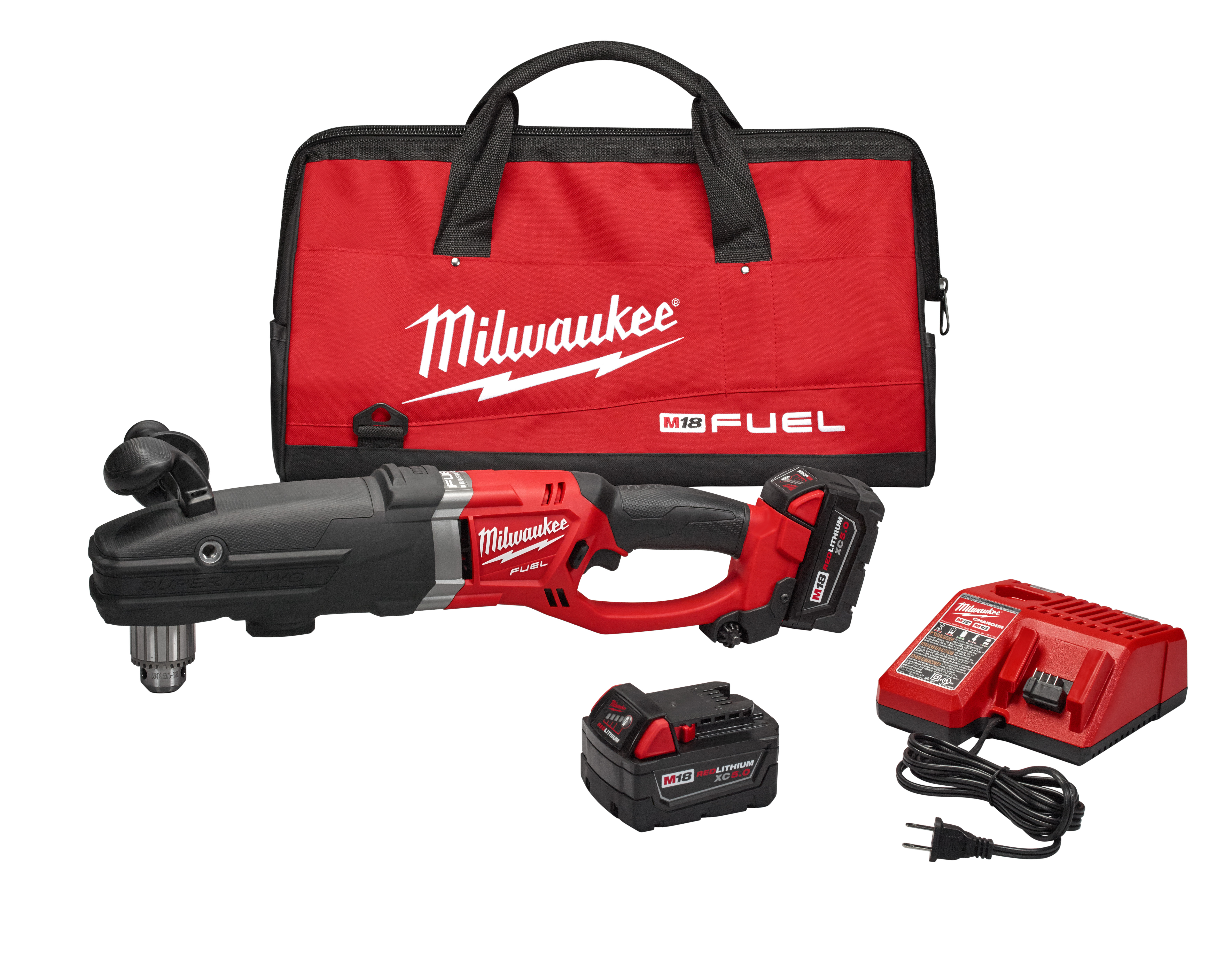 Milwaukee® M18™ FUEL™ SUPER HAWG® 2709-22 SUPER HAWG® Cordless Right Angle Drill Kit, 1/2 in Keyed Chuck, 18 VDC, 0 to 350/0 to 950 rpm No-Load, 22 in OAL, Lithium-Ion Battery