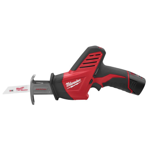 Milwaukee® HACKZALL™ 2420-21 M12™ Fixed Shoe Cordless Reciprocating Saw Kit, 1/2 in L Stroke, 0 to 3000 spm, Straight Cut, 12 VDC, 11 in OAL