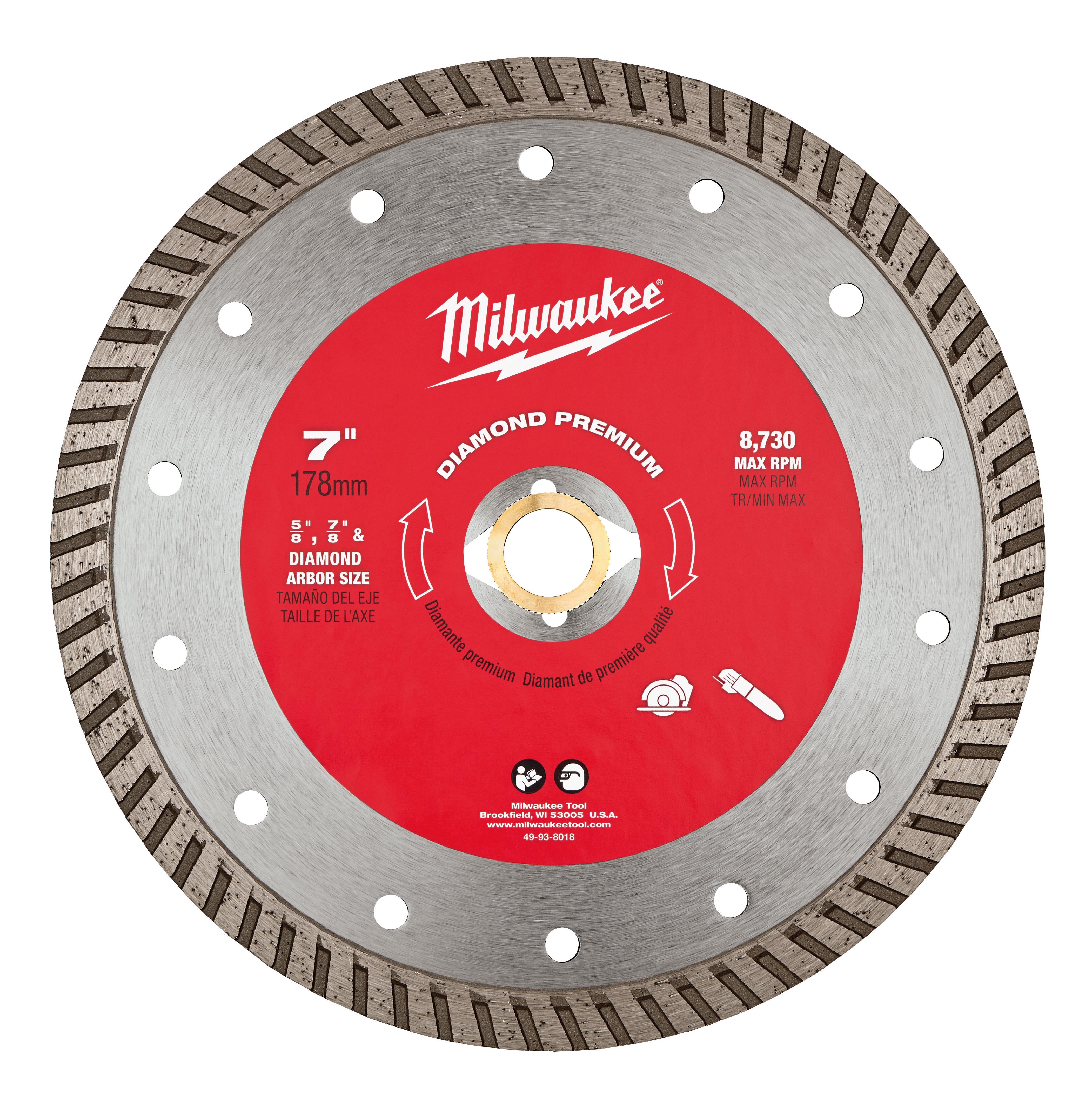Milwaukee® 49-93-8018 Premium Turbo Circular Diamond Saw Blade, 7 in Dia Blade, 5/8 in, 7/8 in Arbor/Shank, Dry/Wet Cutting