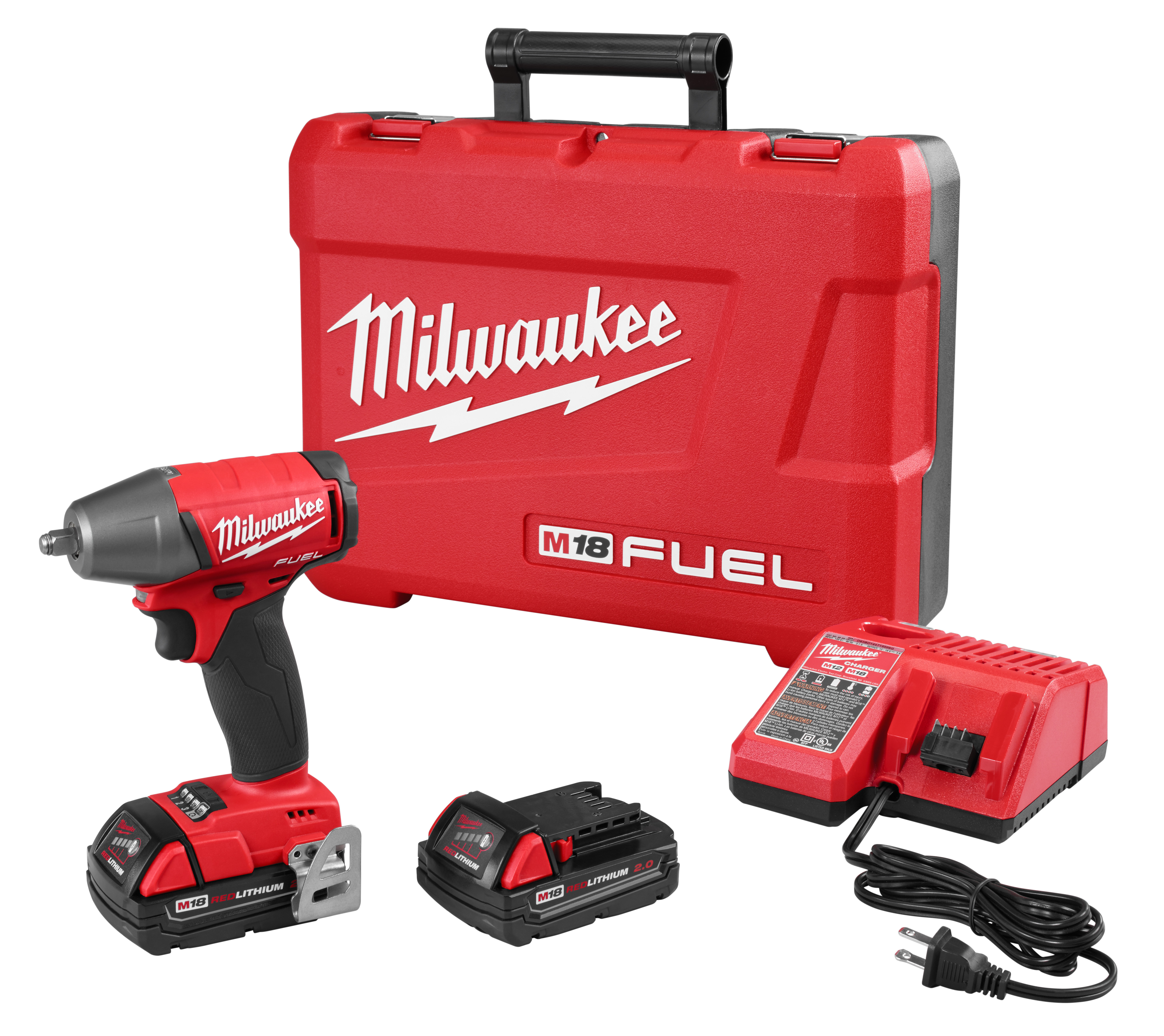 Milwaukee® M18™ FUEL™ 2754-22CT Brushless Compact Impact Wrench Kit, 3/8 in Straight Drive, 0 to 3200 bpm, 220 ft-lb Torque, 18 VDC, 5.9 in OAL