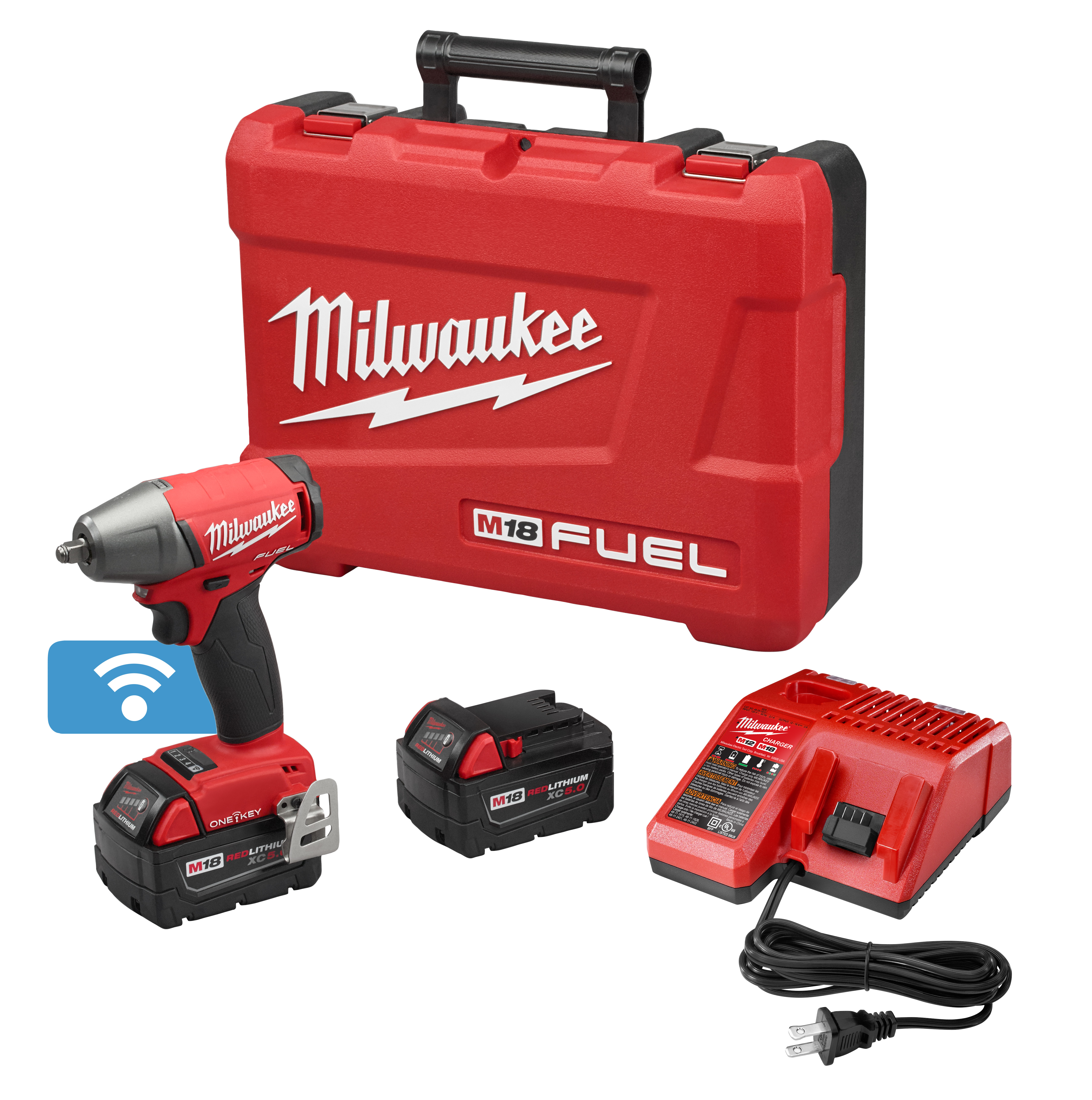 Milwaukee® M18™ FUEL™ 2758-22 Brushless Compact Compact Impact Wrench Kit With Friction Ring, 3/8 in Straight Drive, 0 to 3200 bpm, 210 ft-lb Torque, 18 VDC, 5.9 in OAL