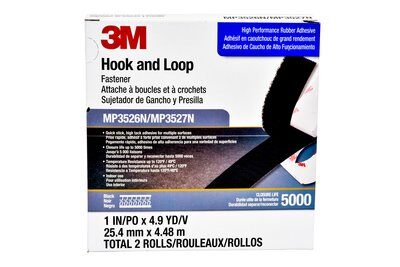 3M™ MP-3526/27N-Black Mini Pack Reclosable Hook and Loop Fastener Tape, 5 yd L x 1 in W, 0.15 in THK Engaged, High Performance Rubber Adhesive, Woven Nylon Backing, Black