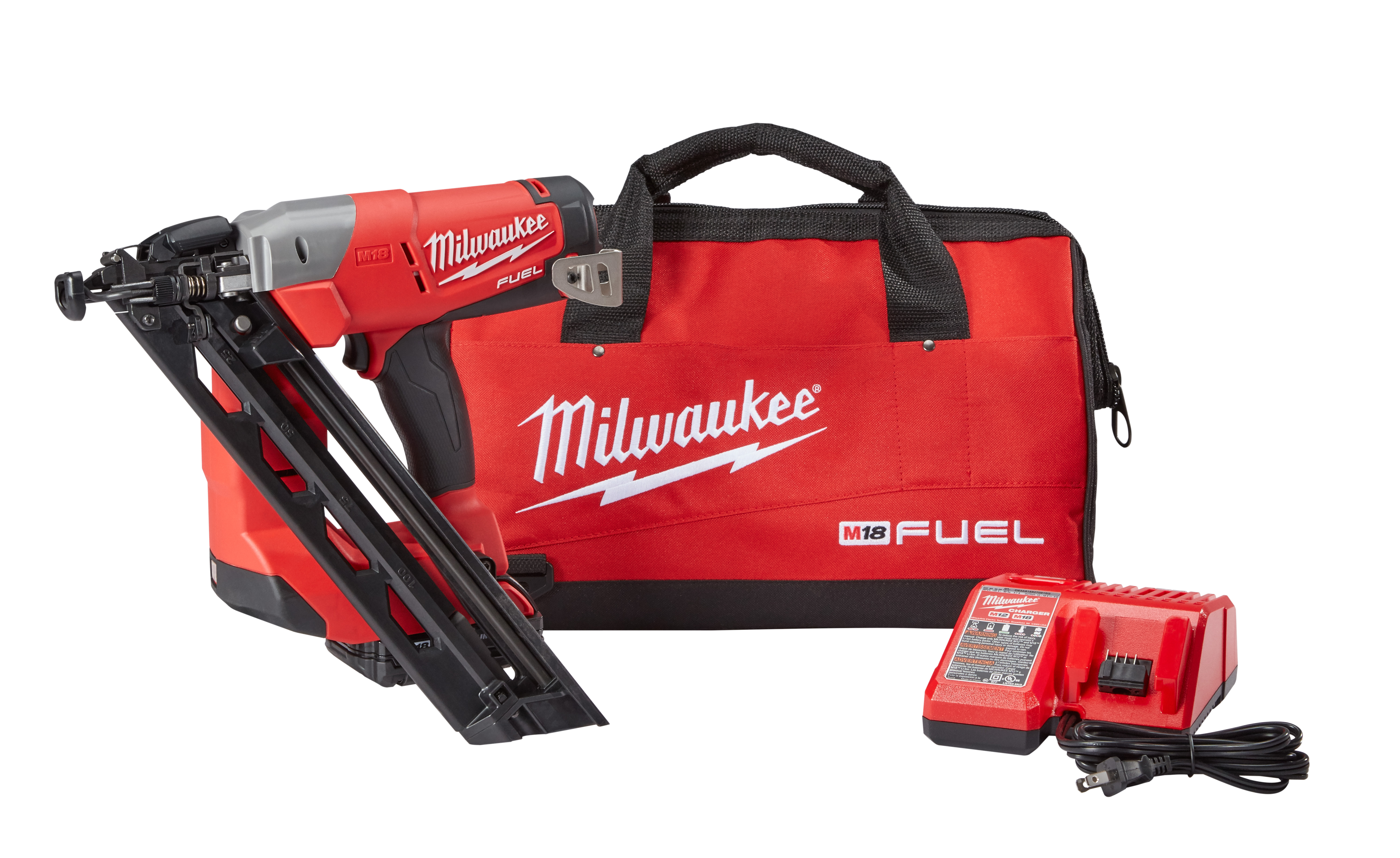 Milwaukee® M18™ FUEL™ 2743-21CT Cordless Finish Nailer Kit, 1-1/4 to 2-1/2 in Fastener, 110 Nails Nails Magazine, 11-29/32 in OAL, Battery