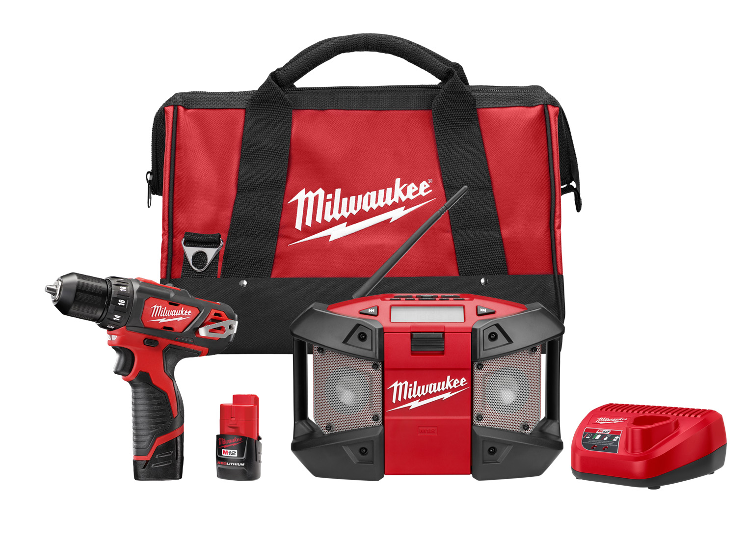 Milwaukee® M12™ 2492-22 2-Tool Cordless Combination Kit, Tools: Drill/Driver, 12 VDC, 1.5 Ah Lithium-Ion REDLITHIUM™ Battery, 3.8 in Drill