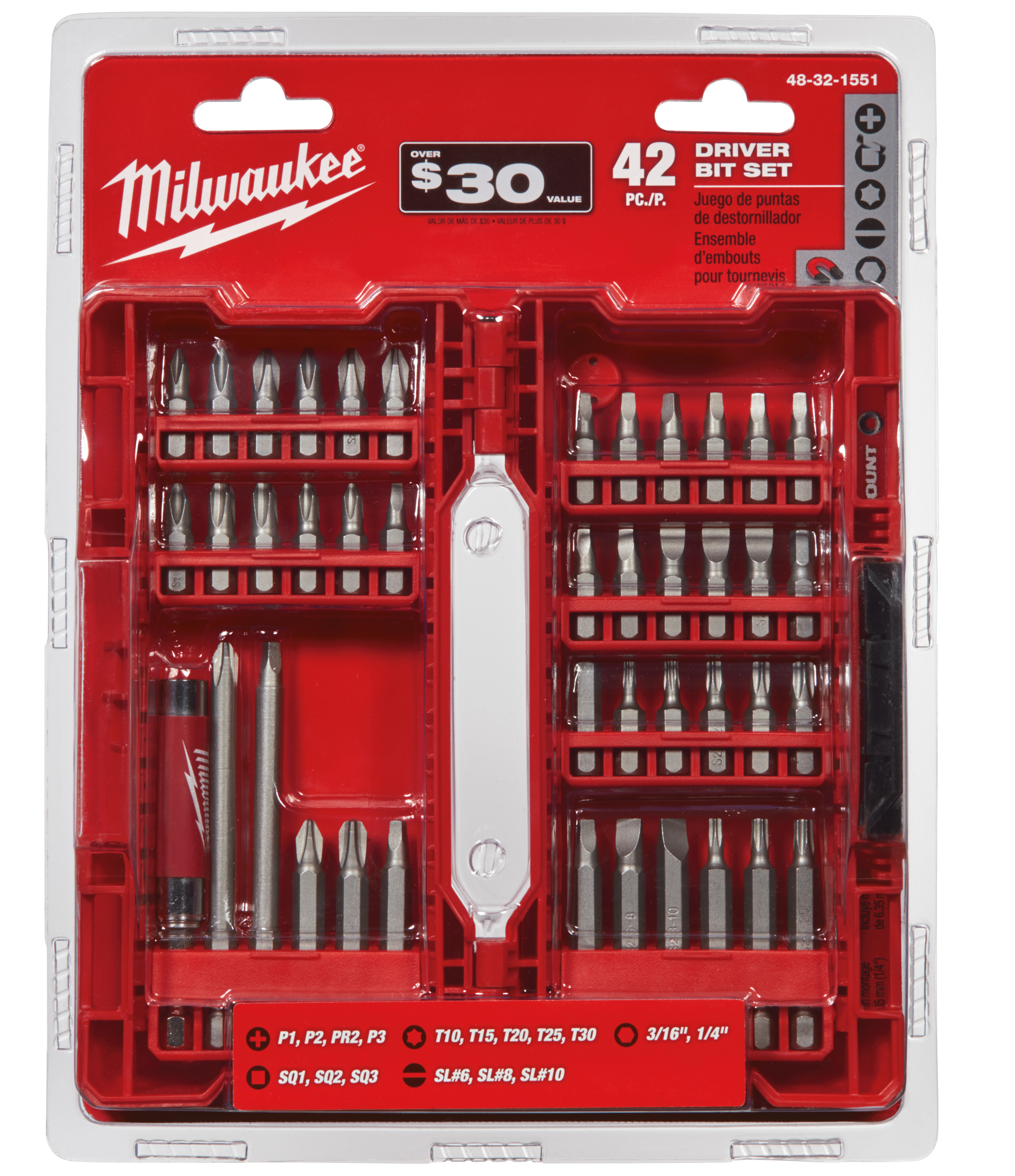 Milwaukee® SHOCKWAVE™ 48-32-1551 Drive and Fasten Set, 42 Pieces, S2 Tool Steel