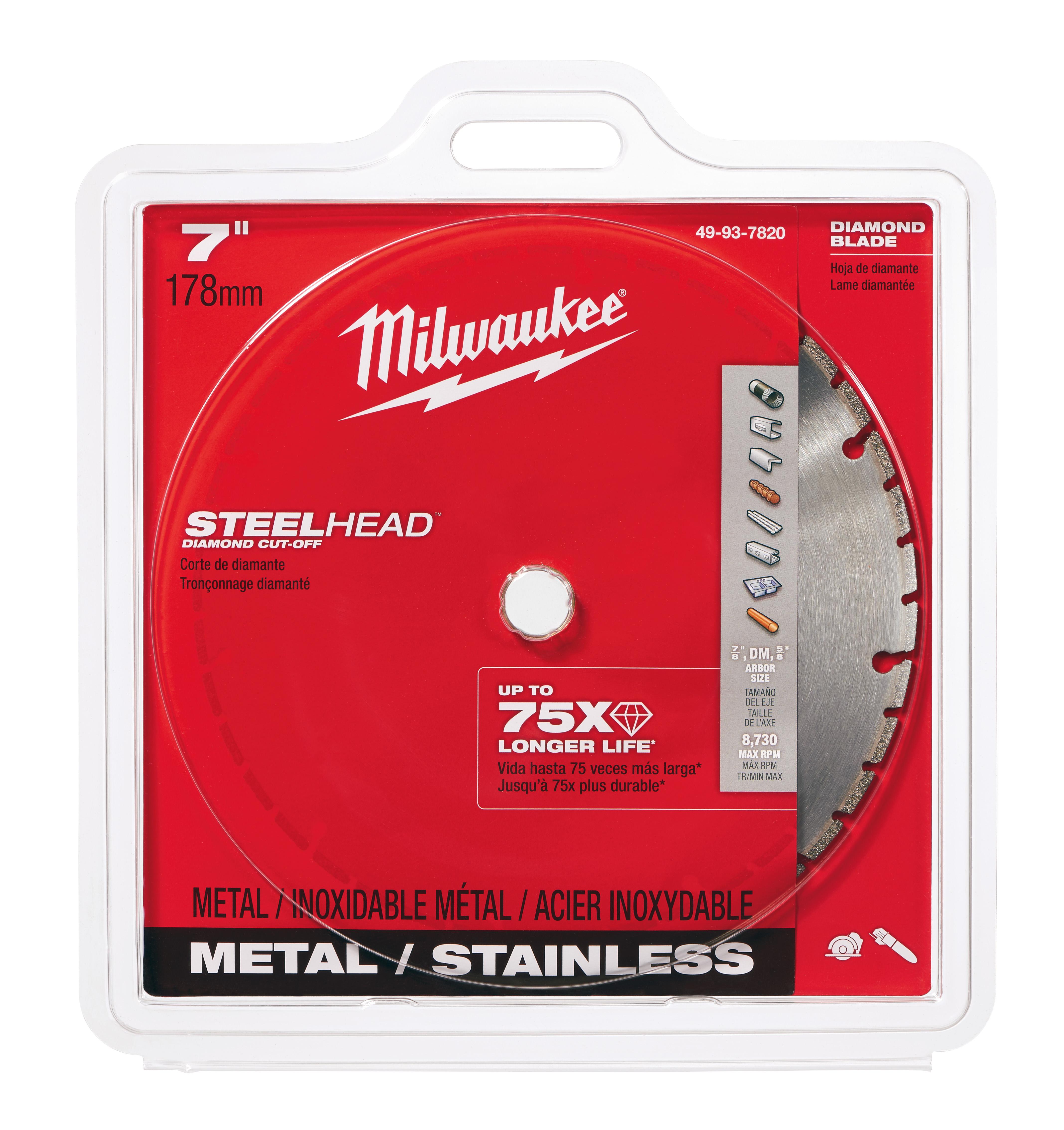 Milwaukee® SteelHead™ 49-93-7820 Segmented Diamond Cut-Off Blade, 7 in Dia Blade, 0.6 in W, 7/8 in, 5/8 in Arbor/Shank, Dry Cutting