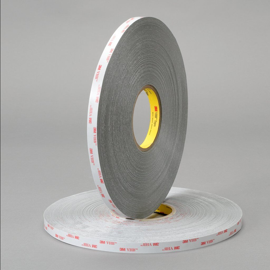 3M™ VHB™ 4936F Pressure Sensitive Double Sided Bonding Tape, 72 yd L x 1/2 in W, 0.025 in THK, Multi-Purpose Acrylic Adhesive, Acrylic Foam Backing, Gray