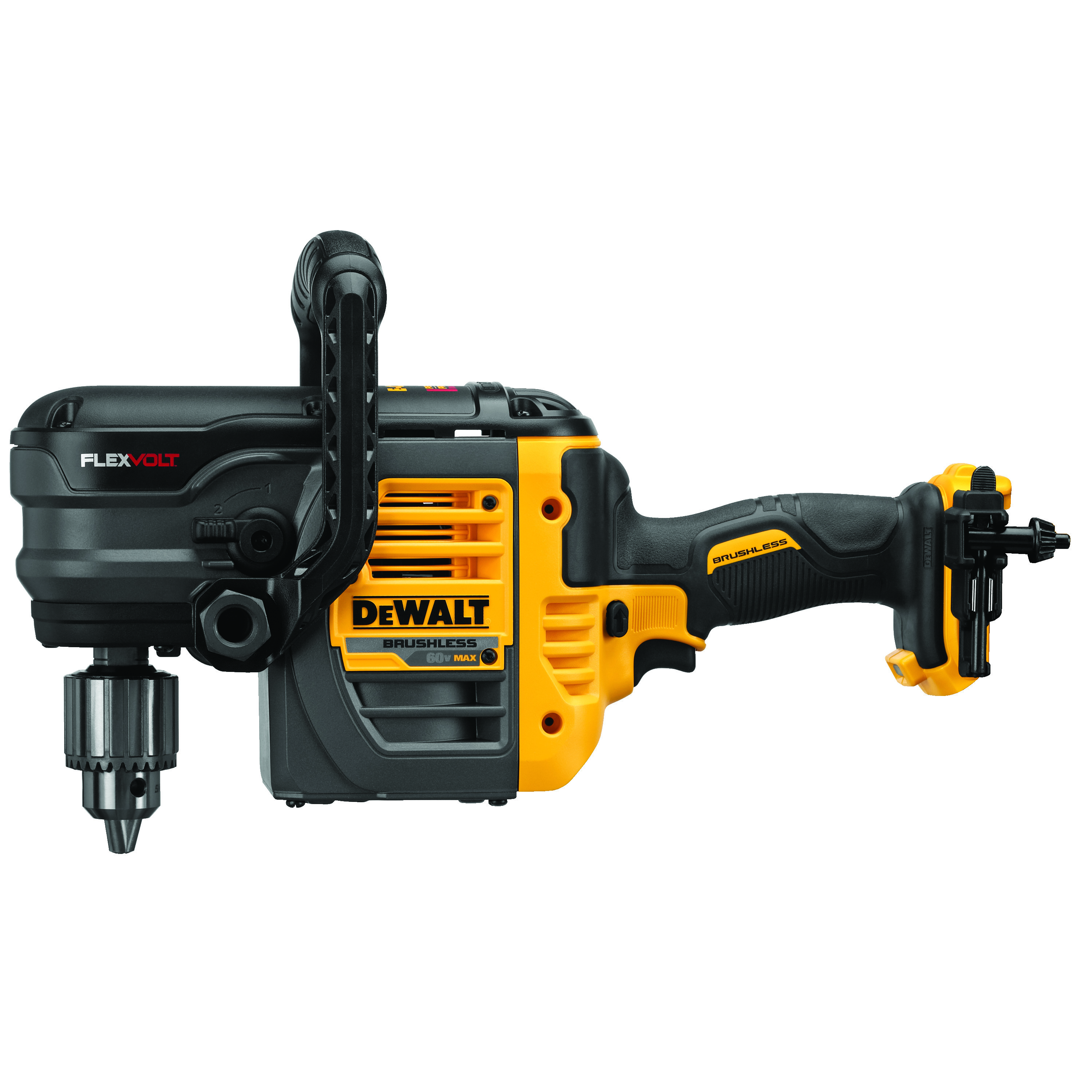DeWALT® 60V MAX* FLEXVOLT™ DCD460B Brushless Cordless VSR Stud and Joist Drill With E-Clutch® System, 1/2 in Keyed Chuck, 60 V, 0 to 300/0 to 1250 rpm No-Load, 16 in OAL, Lithium-Ion Battery, Tool Only