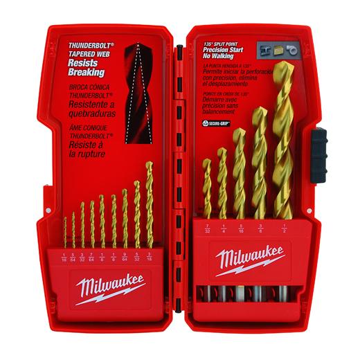 Milwaukee® Thunderbolt® 48-89-0011 Drill Bit Set, 14 Pieces, HSS, Titanium Coated