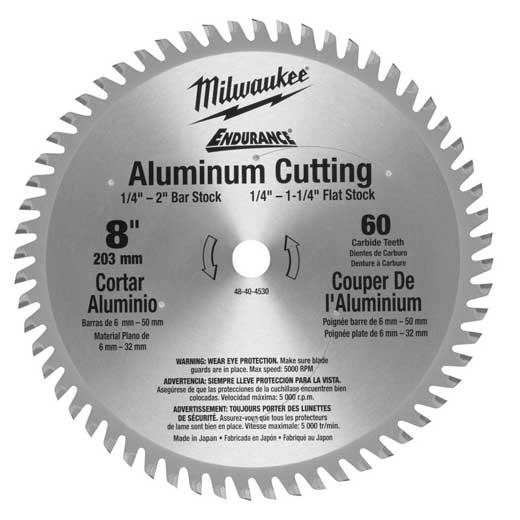 Milwaukee® 48-40-4530 Circular Saw Blade, 8 in Dia x 0.059 in THK, 5/8 in Arbor, Hardened Steel Blade, 60 Teeth