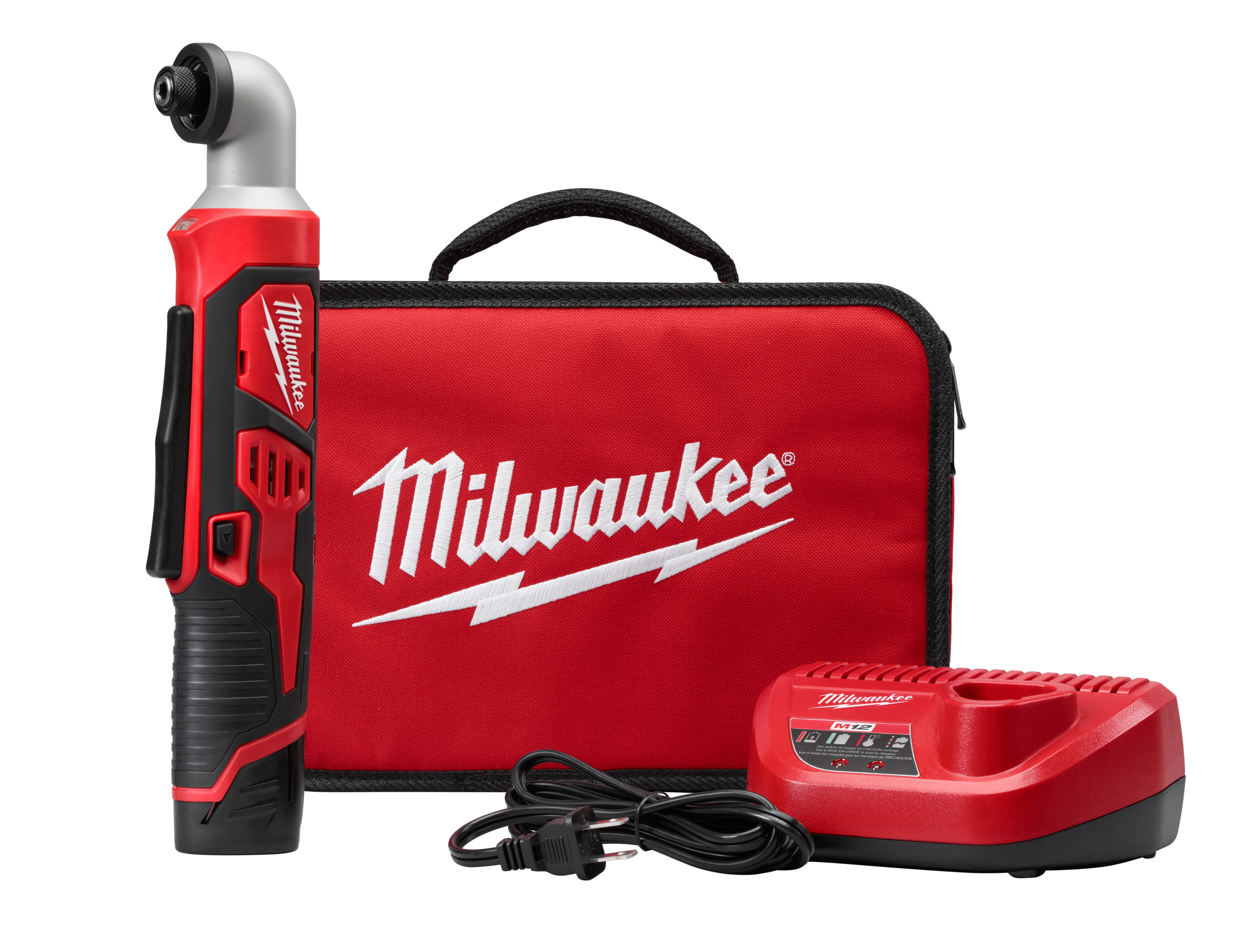 Milwaukee® M12™ 2467-21 Right Angle Cordless Impact Driver Kit, 1/4 in Hex Drive, 0 to 3300 bpm, 600 in-lb Torque, 12 VAC, 12.1 in OAL