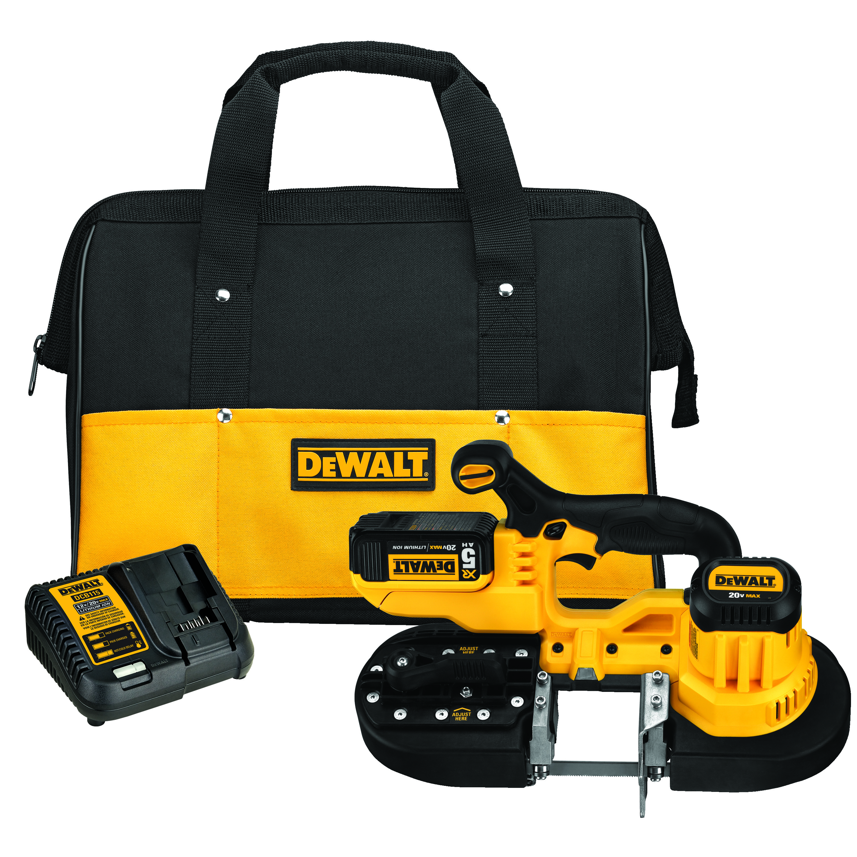 DeWALT® DCS371P1 Max® Cordless Band Saw Kit, 2-1/2 in Cutting, 32-7/8 in L Blade, 20 VAC, 5 Ah Lithium-Ion Battery