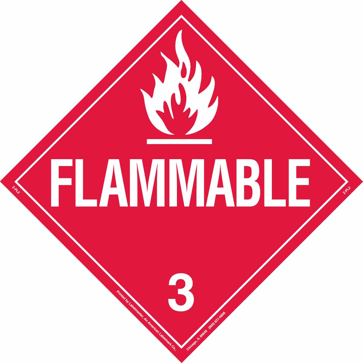Brady® 63443 Diamond DOT Vehicle Placard, FLAMMABLE 3 Legend, Red/White, 10-3/4 in H, B-101 Polycoated Tagstock