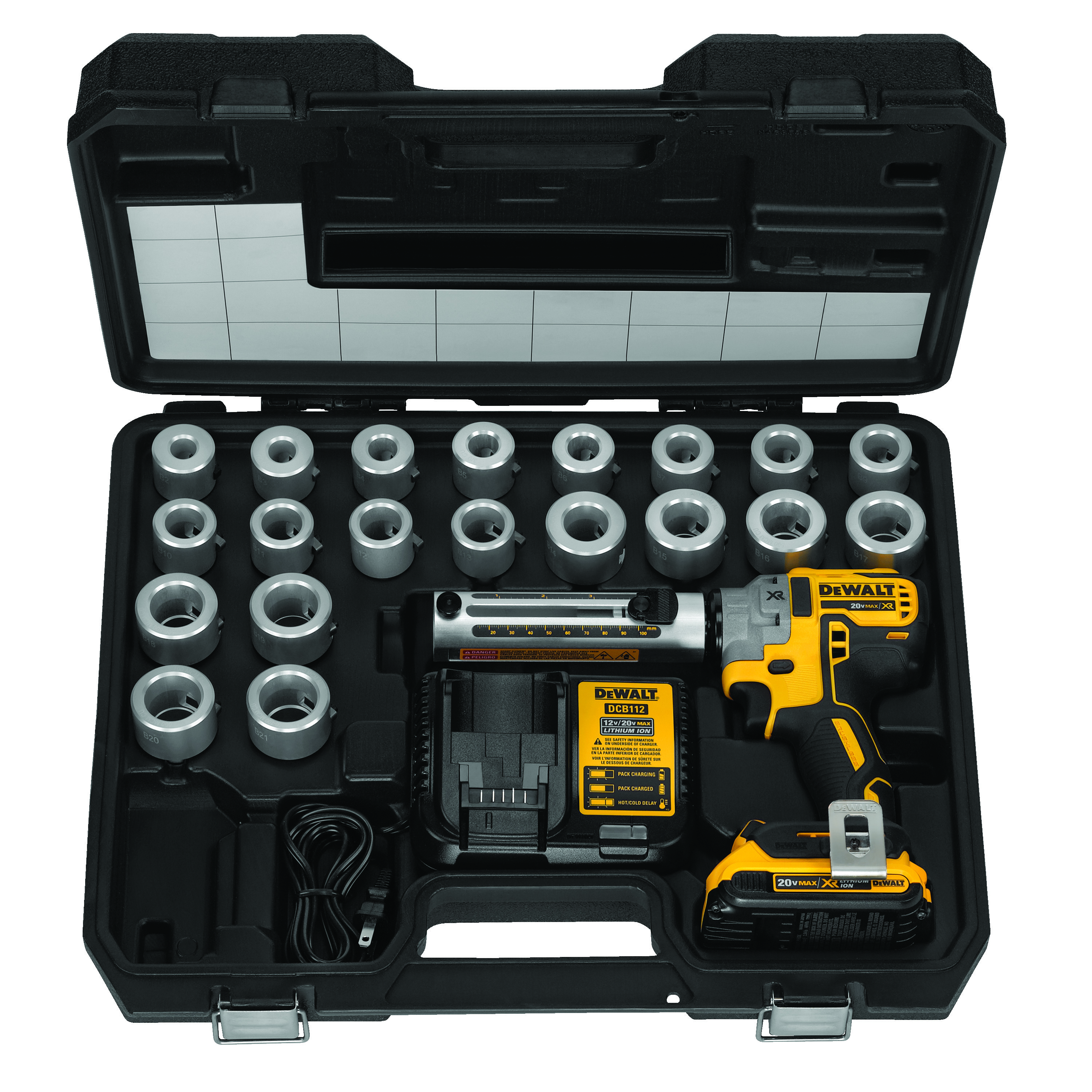 DeWALT® DCE151TD1 Cordless Cable Stripper Kit, 6 AWG to 750 kcmil Copper/Aluminum Cutting, 20 VDC, 2 Ah Lithium-Ion Battery