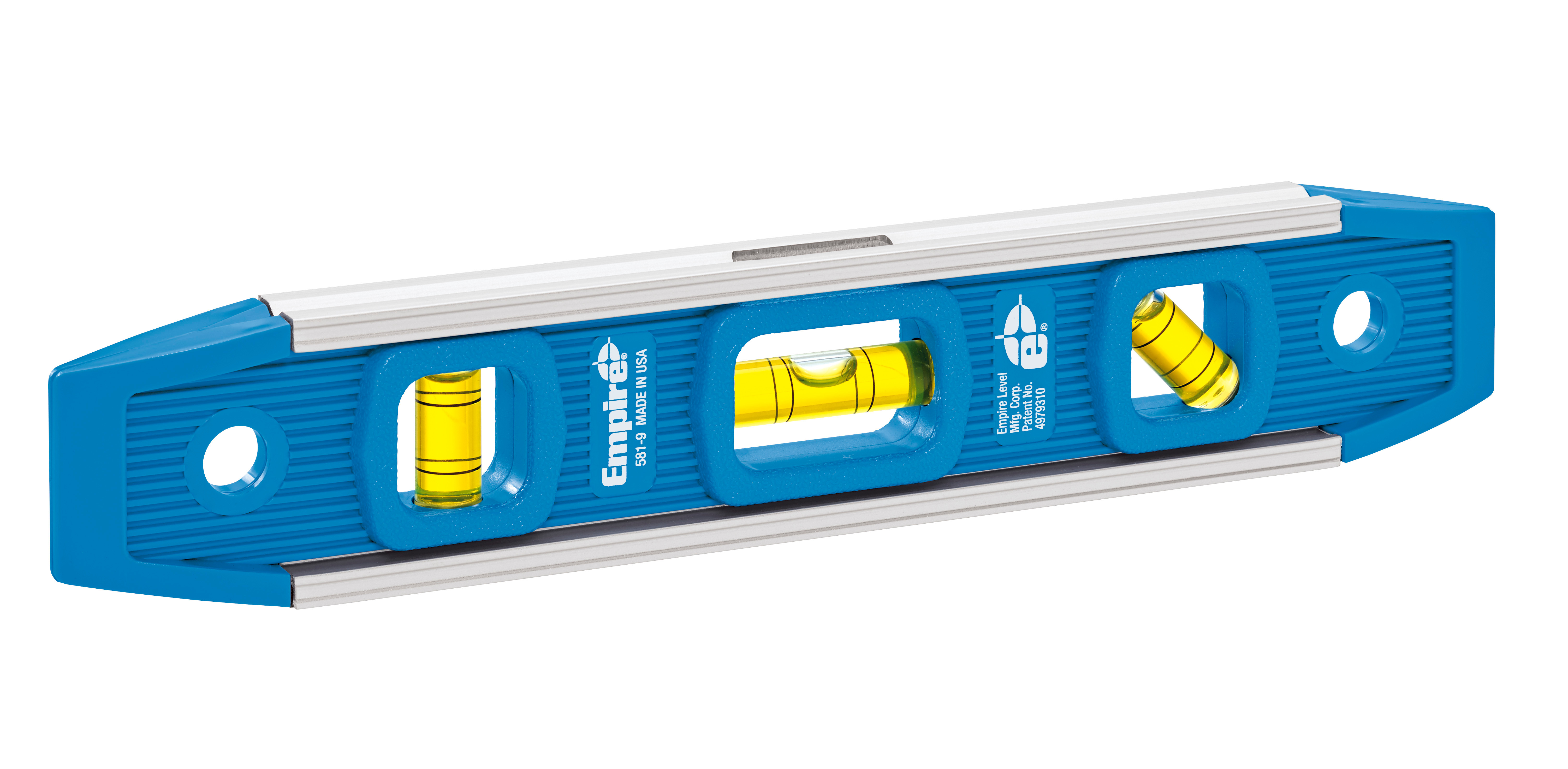 Milwaukee® Empire® 581-9 Magnetic Torpedo Level, 9 in L, 3 Vials, Polycast, (1) 45 deg, (1) Level, (1) Plumb Vial Position, 0.001 in Accuracy
