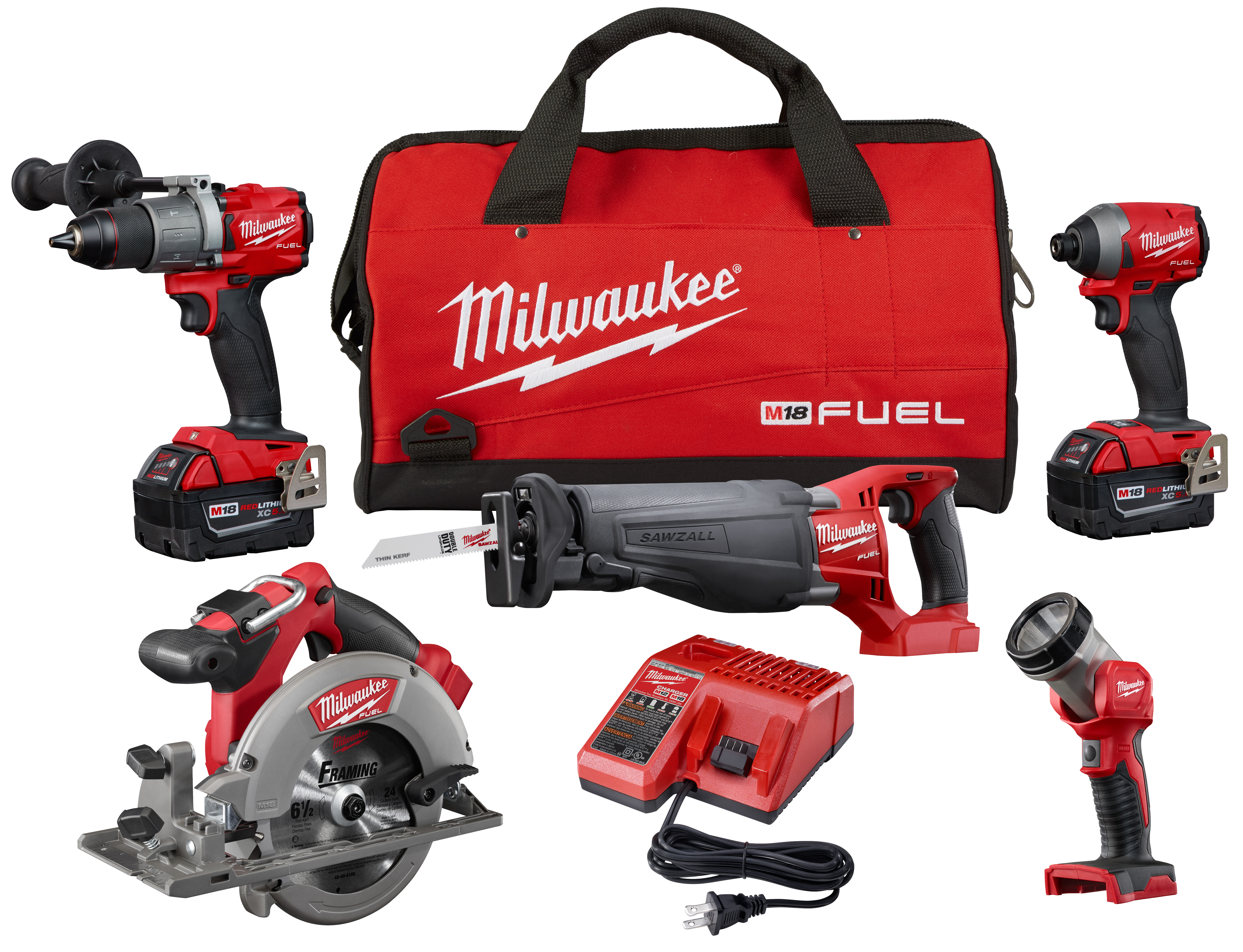Milwaukee® M18™ 2997-25 5-Tool Cordless Combination Kit, Tools: Hammer Drill, Impact Driver, Reciprocating Saw, Circular Saw, LED Worklight, 18 VDC, 5 Ah Lithium-Ion REDLITHIUM™ Battery, 1/4 in Tip