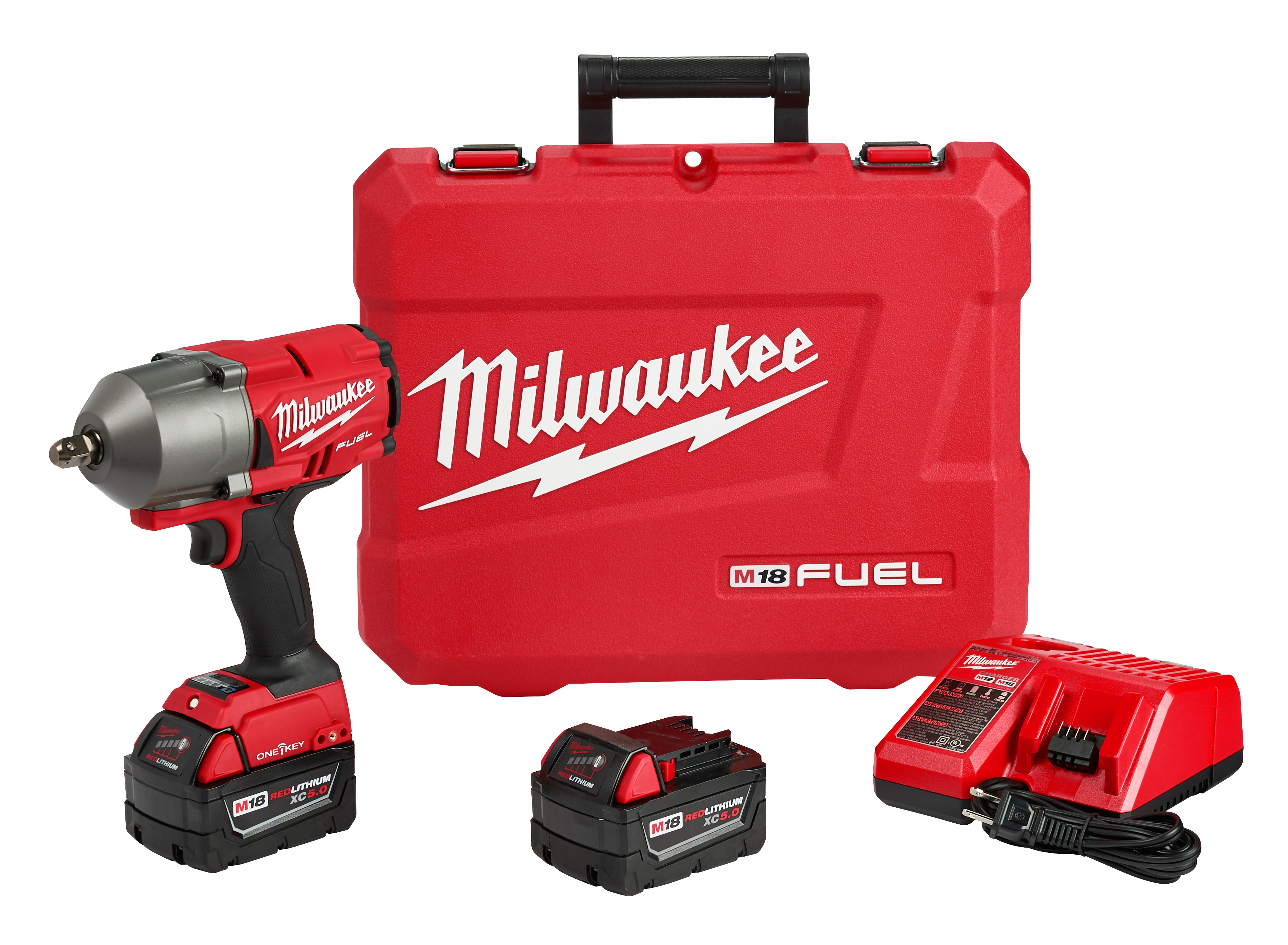 Milwaukee® M18™ FUEL™ ONE-KEY® 2862-22 Cordless High Torque Impact Wrench, 1/2 in 4-Mode Straight Drive, 2400 bpm, 750/1100 ft-lb Torque, 18 VDC, 8-1/8 in OAL